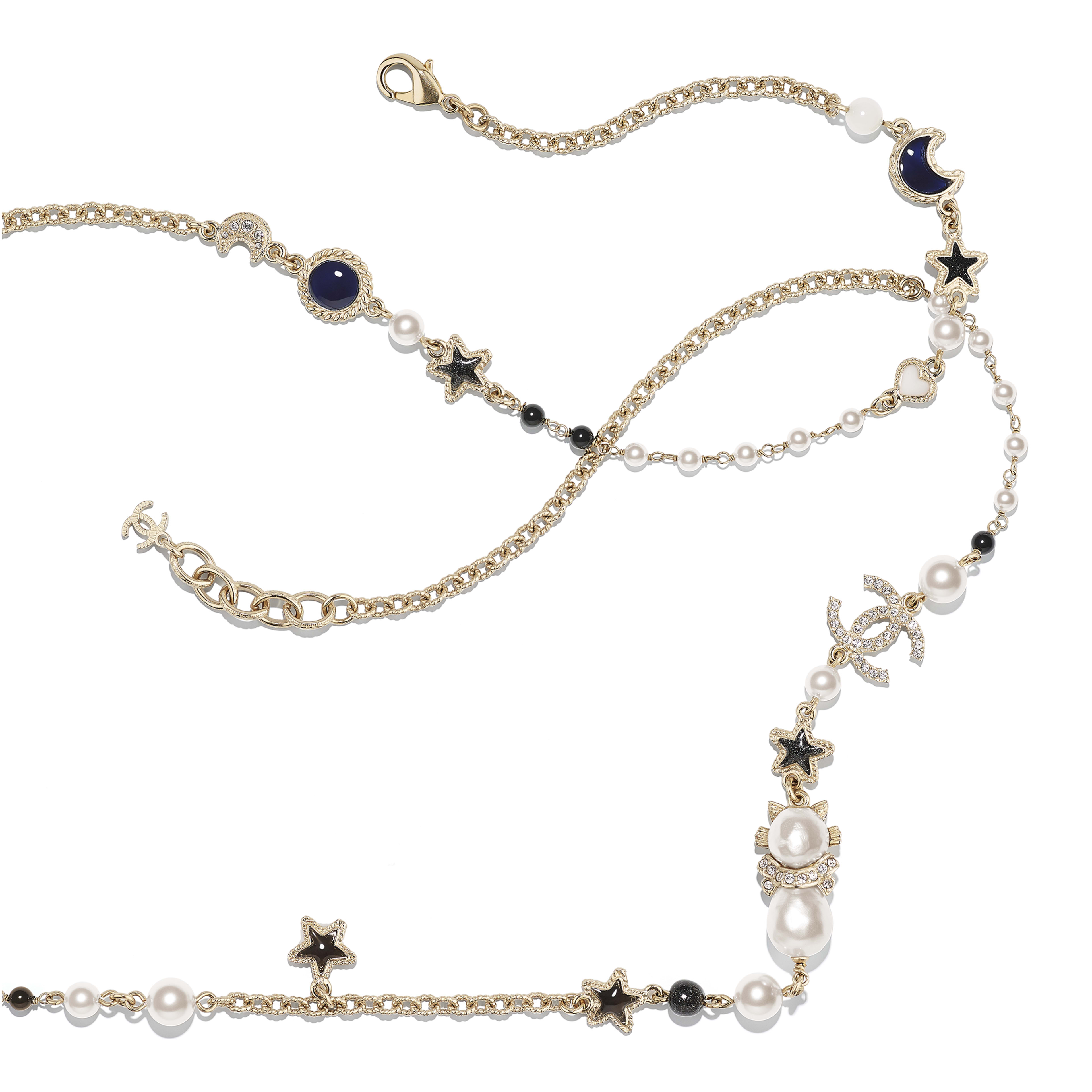 Metal Natural Stones Glass Pearls Imitation Pearls Strass Resin Gold Pearly White Crystal Blue Gray Long Necklace Chanel