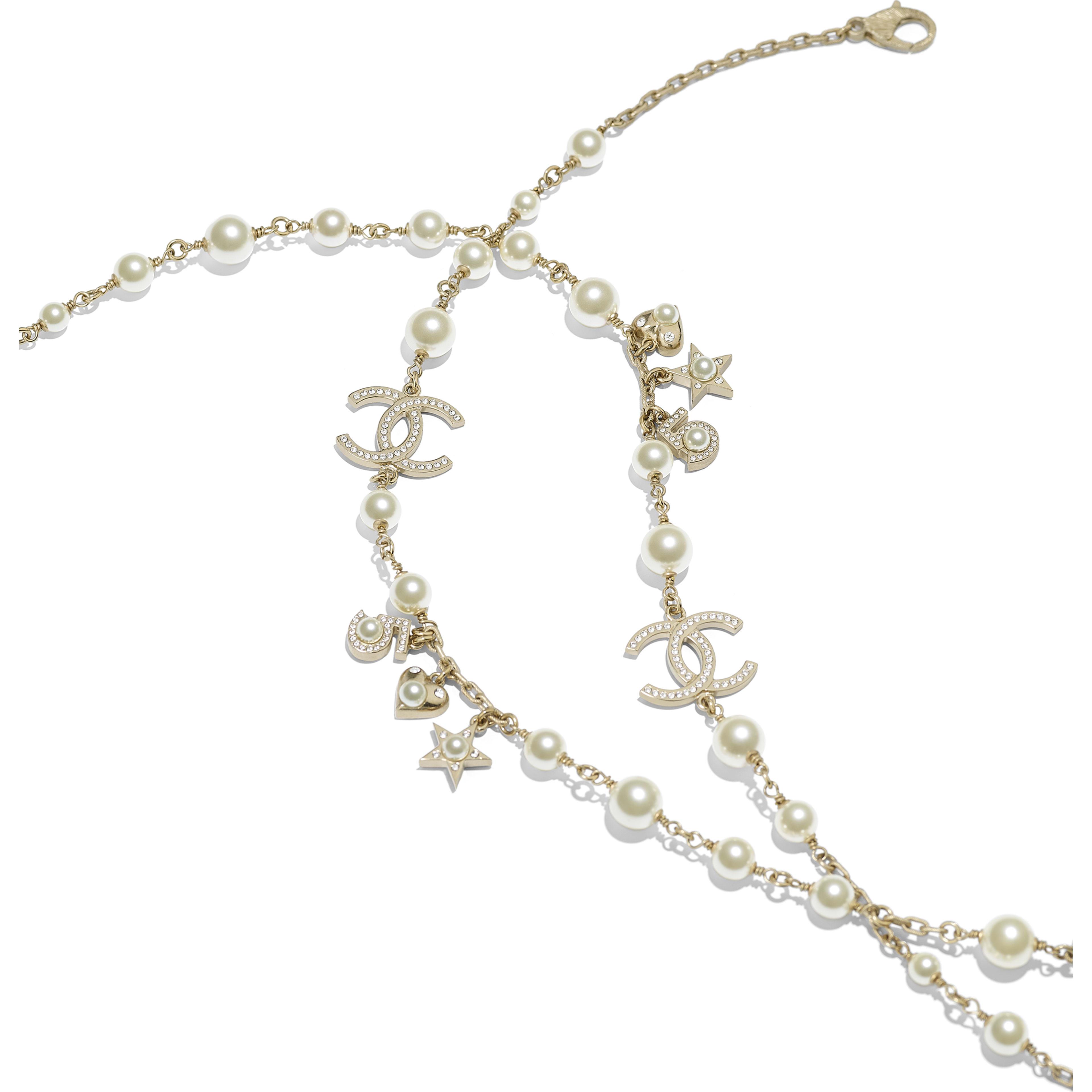 長項鏈 - 金、珍珠白與水晶 - 金屬、琉璃珠與水鑽 - 替代視圖 - 查看全尺寸版本