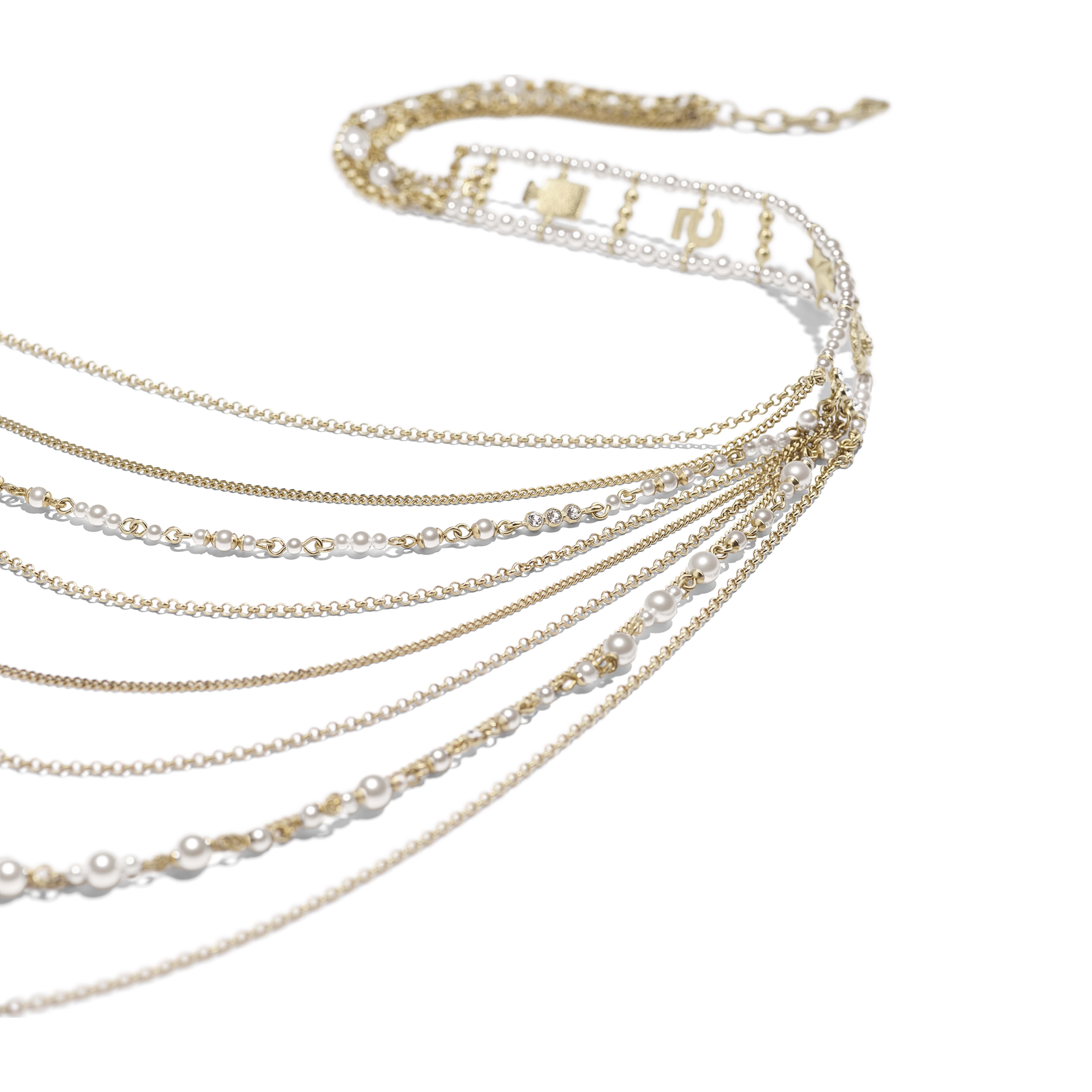 Long Necklace - Gold, Pearly White & Crystal - Metal, Glass Pearls & Diamantés - Alternative view - see full sized version