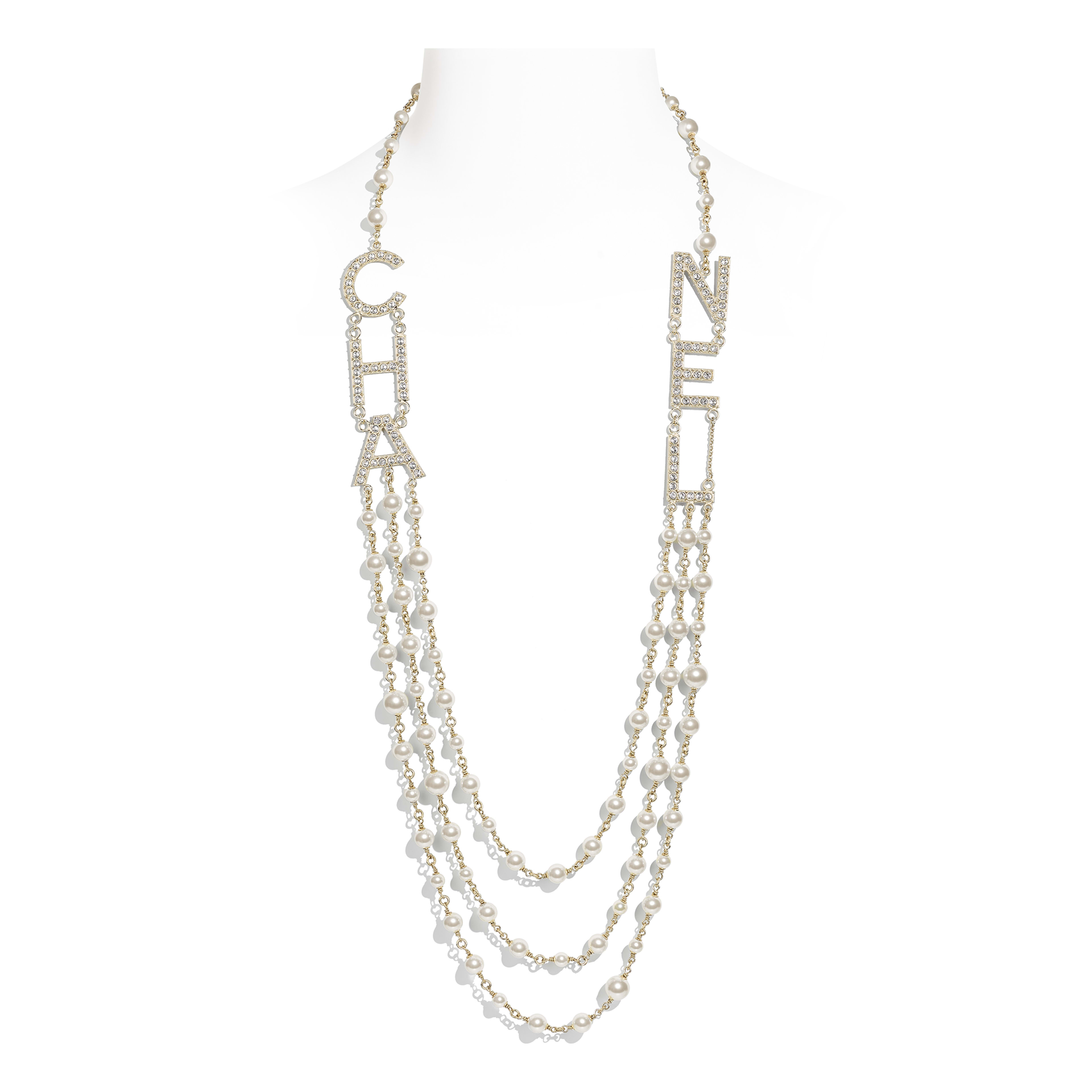 Long Necklace - Gold, Pearly White & Crystal - Metal, Glass Pearls & Strass - Default view - see full sized version
