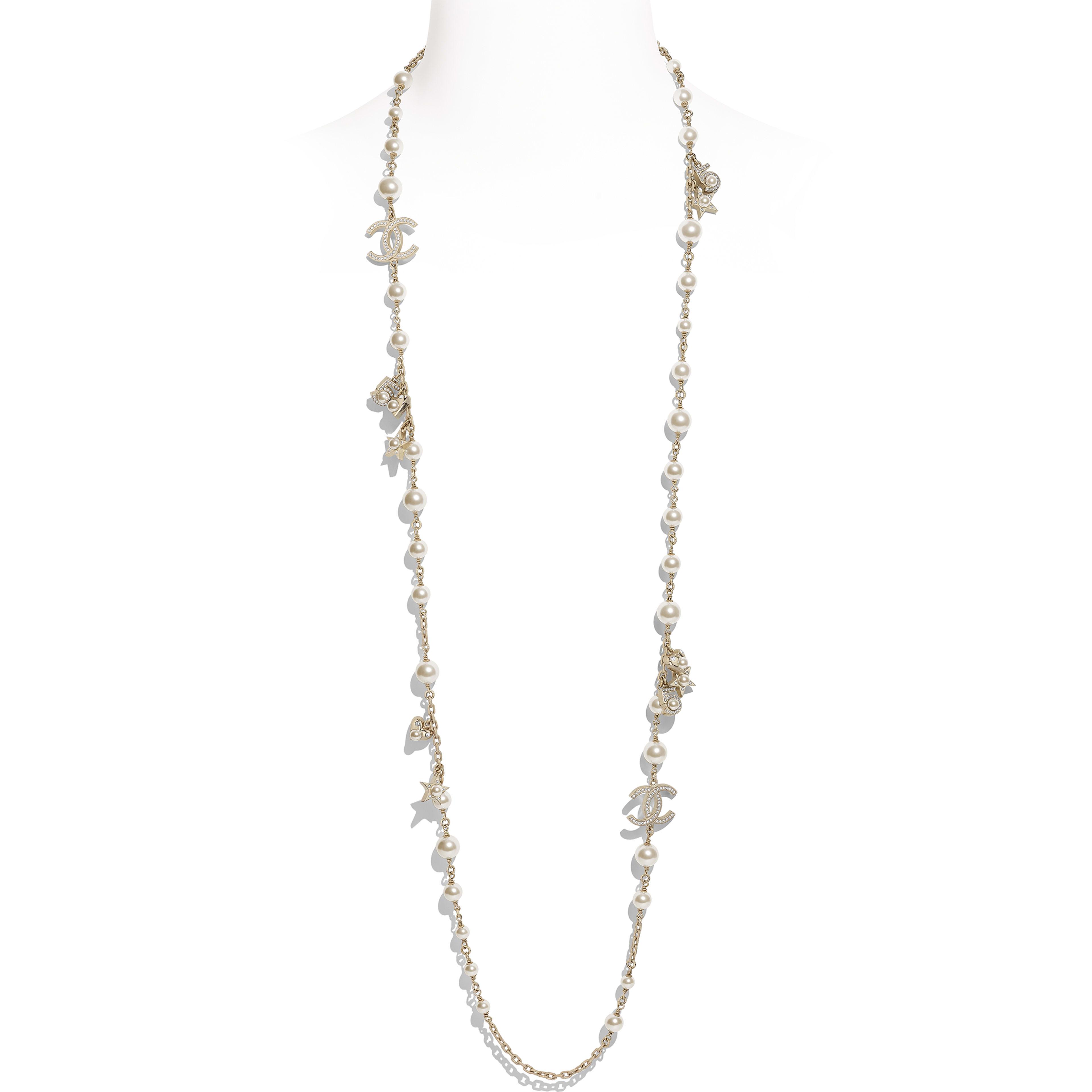 長項鏈 - 金、珍珠白與水晶 - 金屬、琉璃珠與水鑽 - 預設視圖 - 查看全尺寸版本
