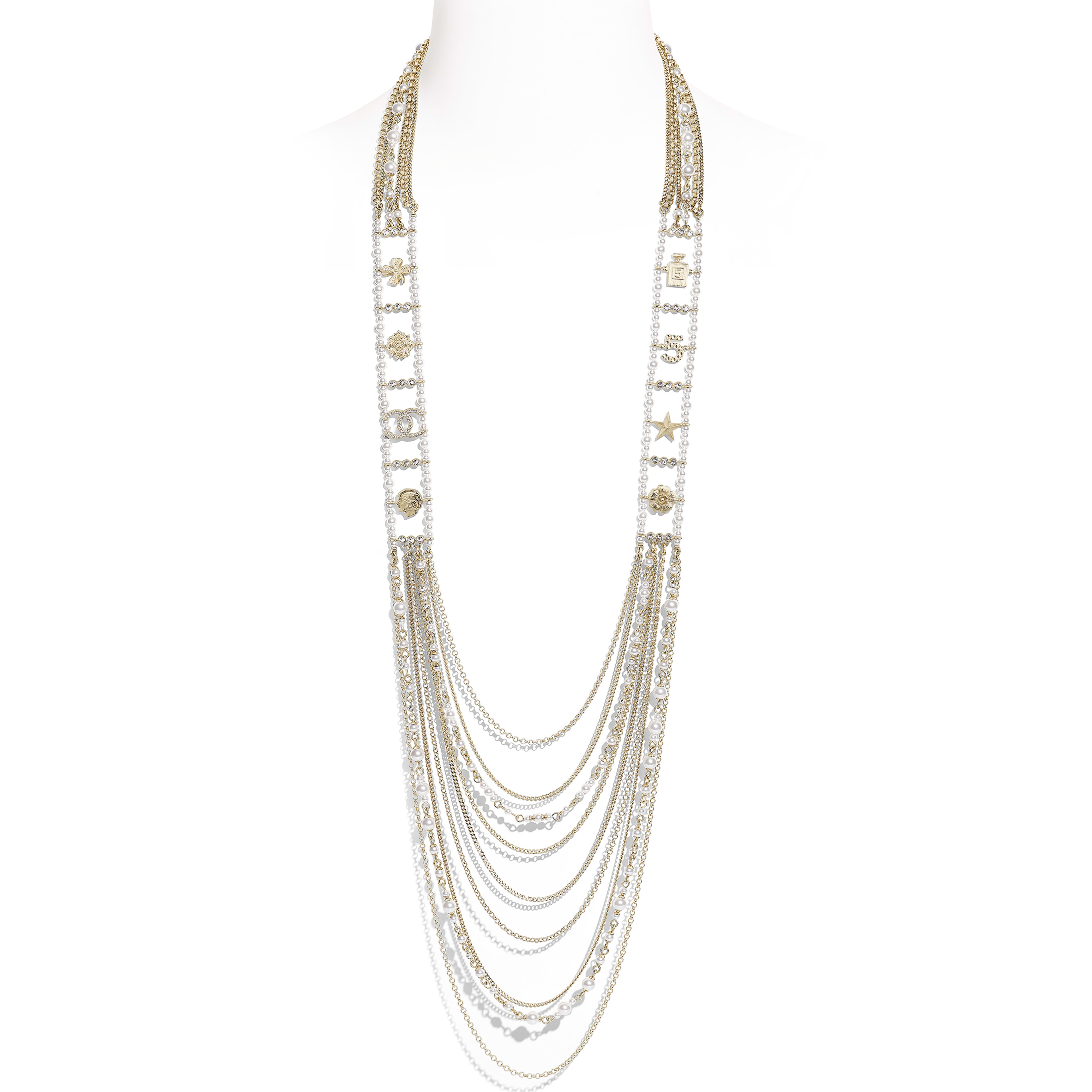 Long Necklace - Gold, Pearly White & Crystal - Metal, Glass Pearls & Diamantés - Default view - see full sized version