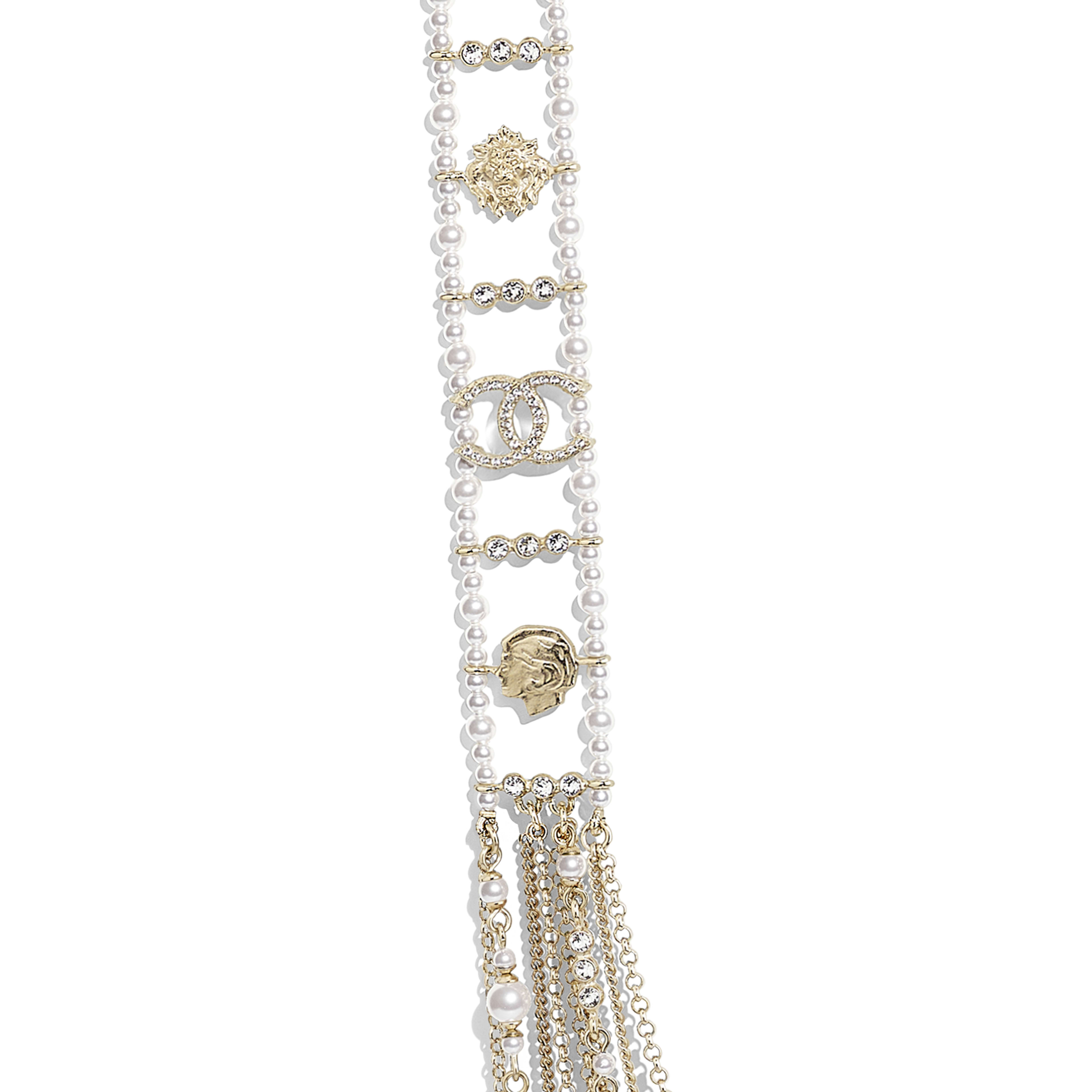 Long Necklace - Gold, Pearly White & Crystal - Metal, Glass Pearls & Diamantés - Other view - see full sized version