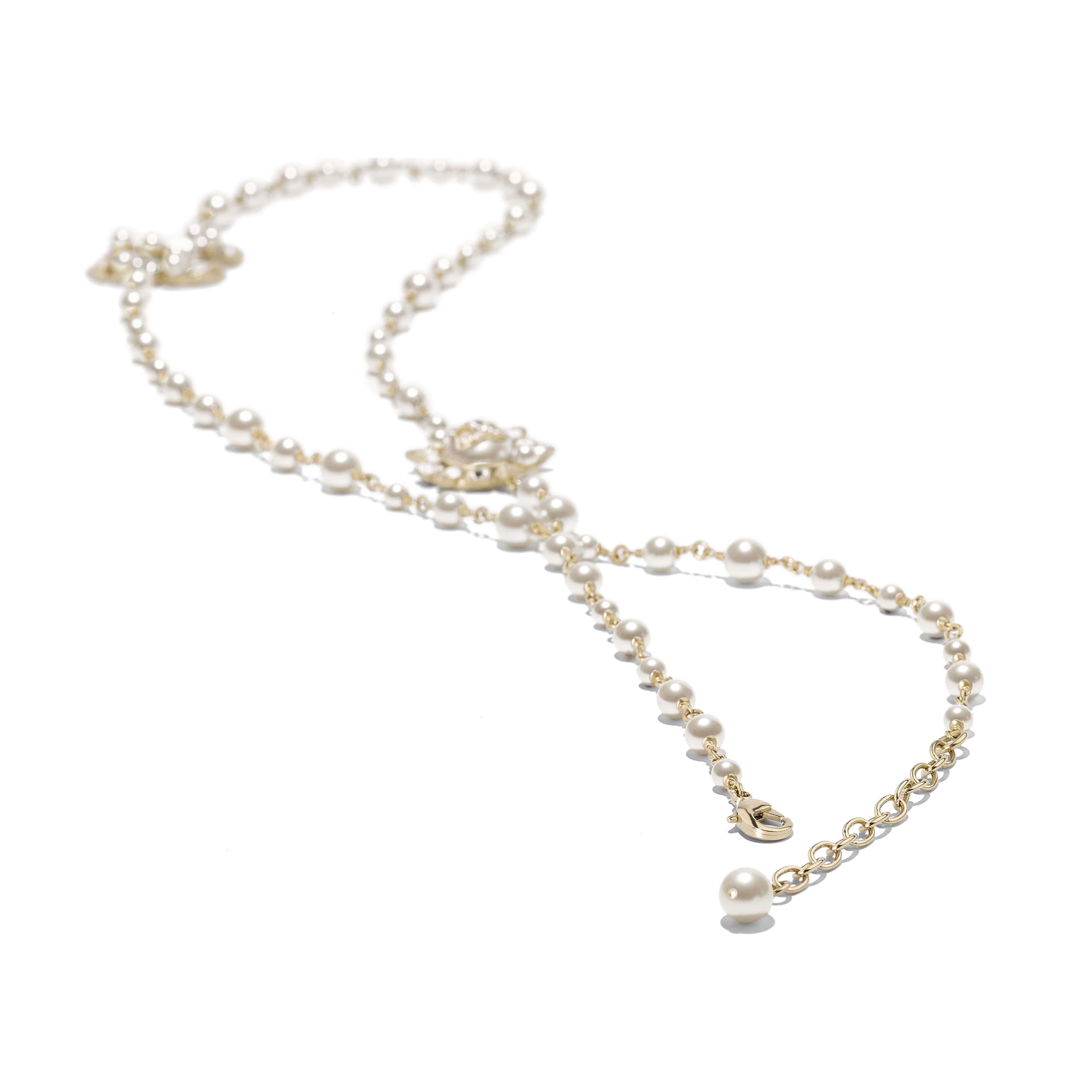 Long Necklace - Gold, Pearly White & Crystal - Metal, Glass Pearls, Strass & Resin - Alternative view - see full sized version