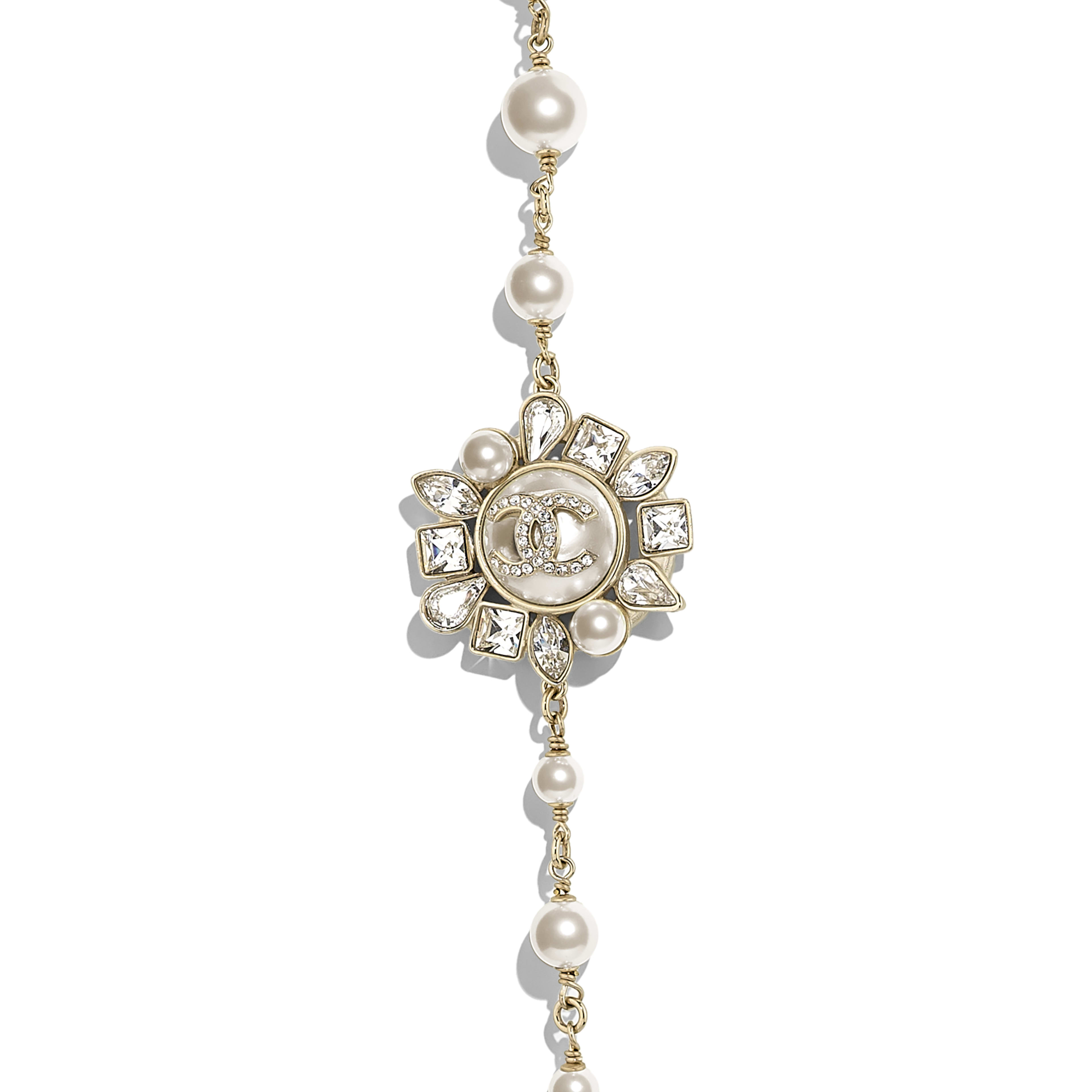 Long Necklace - Gold, Pearly White & Crystal - Metal, Glass Pearls, Strass & Resin - Other view - see full sized version