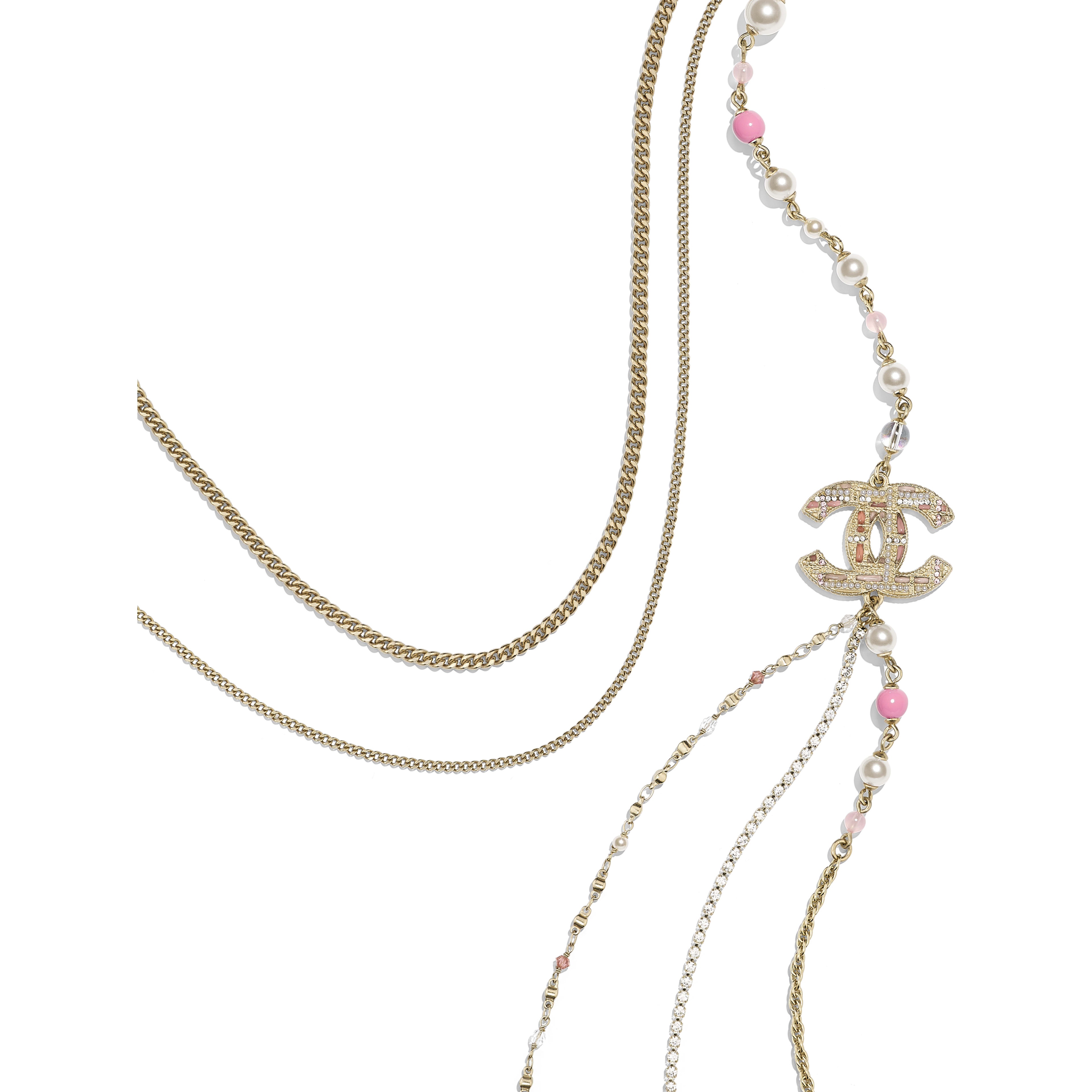 Длинное колье - Золотистый, жемчужно-белый и розовый - металл, жемчуг, стразы и смола - Альтернативный вид - посмотреть полноразмерное изображение