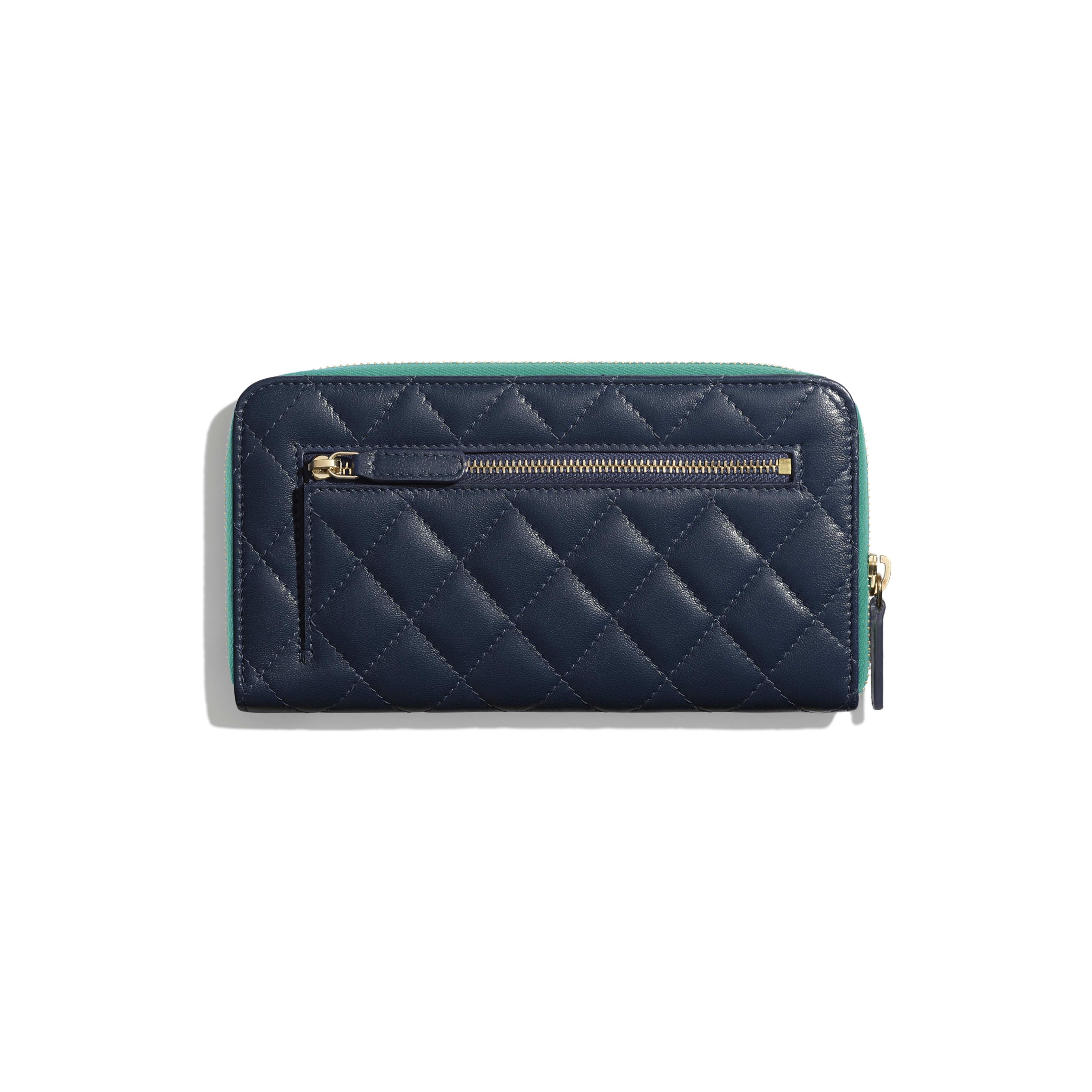 Long Zipped Wallet - Navy Blue, Green & Dark Pink - Goatskin & Gold-Tone Metal - Alternative view - see full sized version