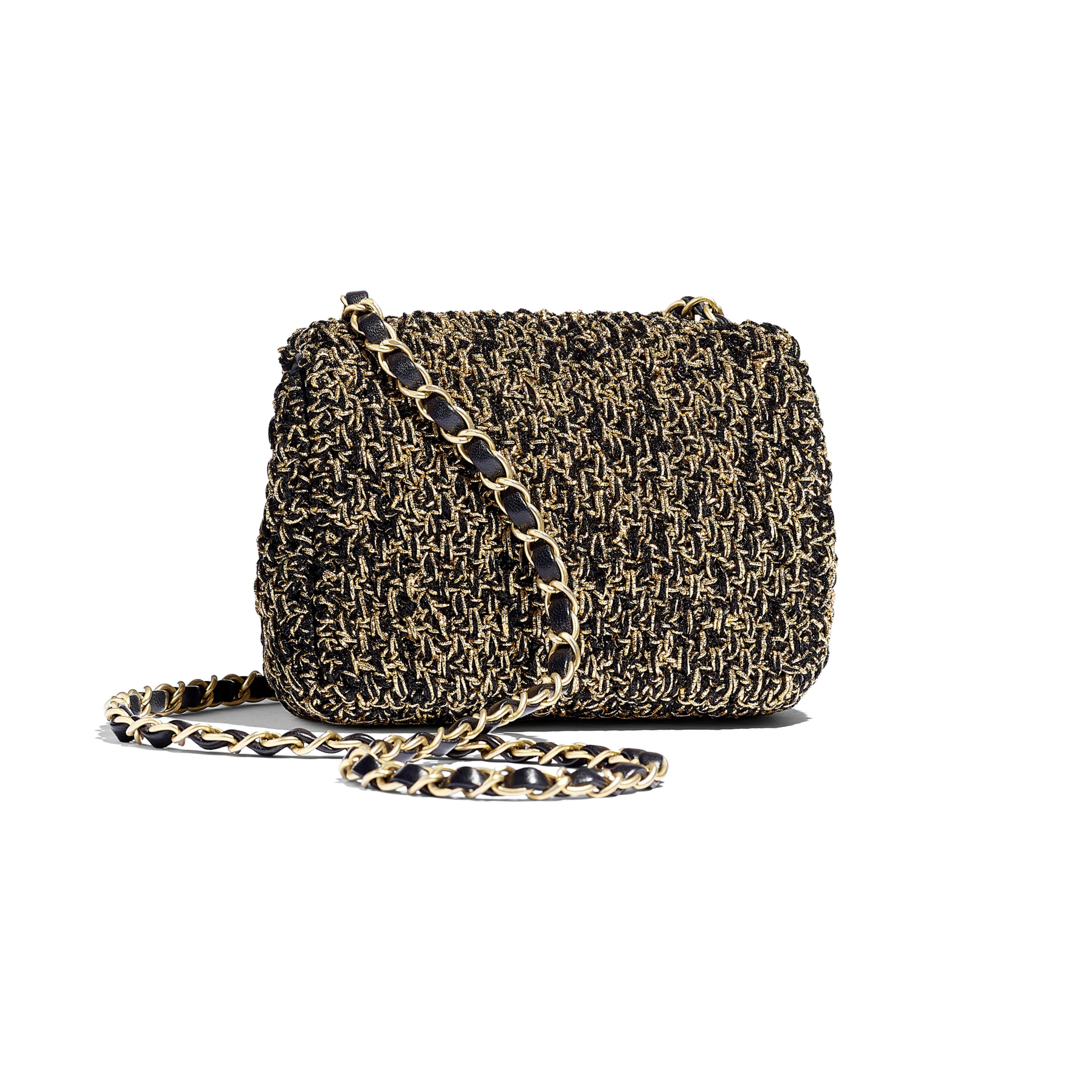 Mini Flap Bag - Black & Gold - Cotton, Mixed Fibers & Gold-Tone Metal - Alternative view - see full sized version