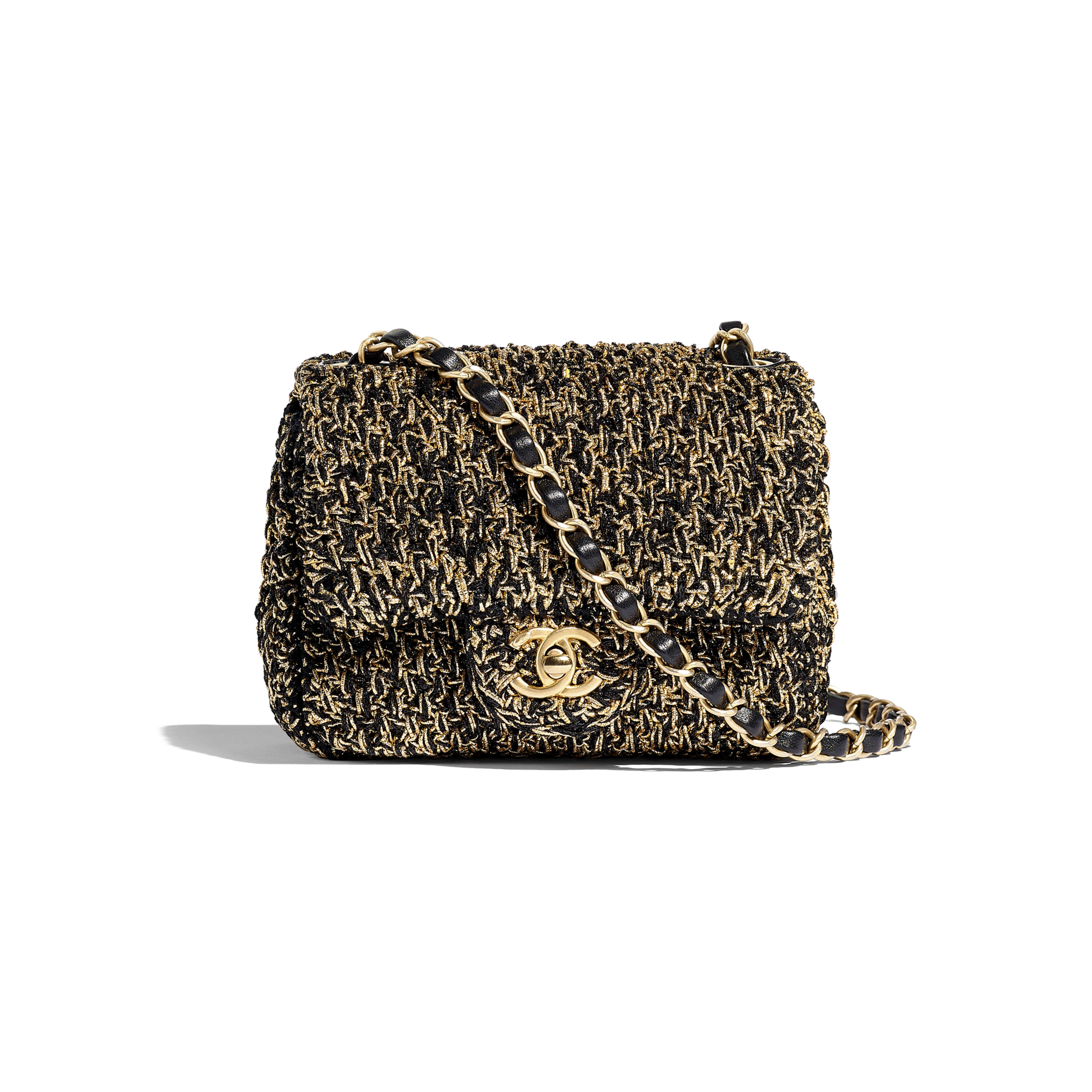 Mini Flap Bag - Black & Gold - Cotton, Mixed Fibers & Gold-Tone Metal - Default view - see full sized version