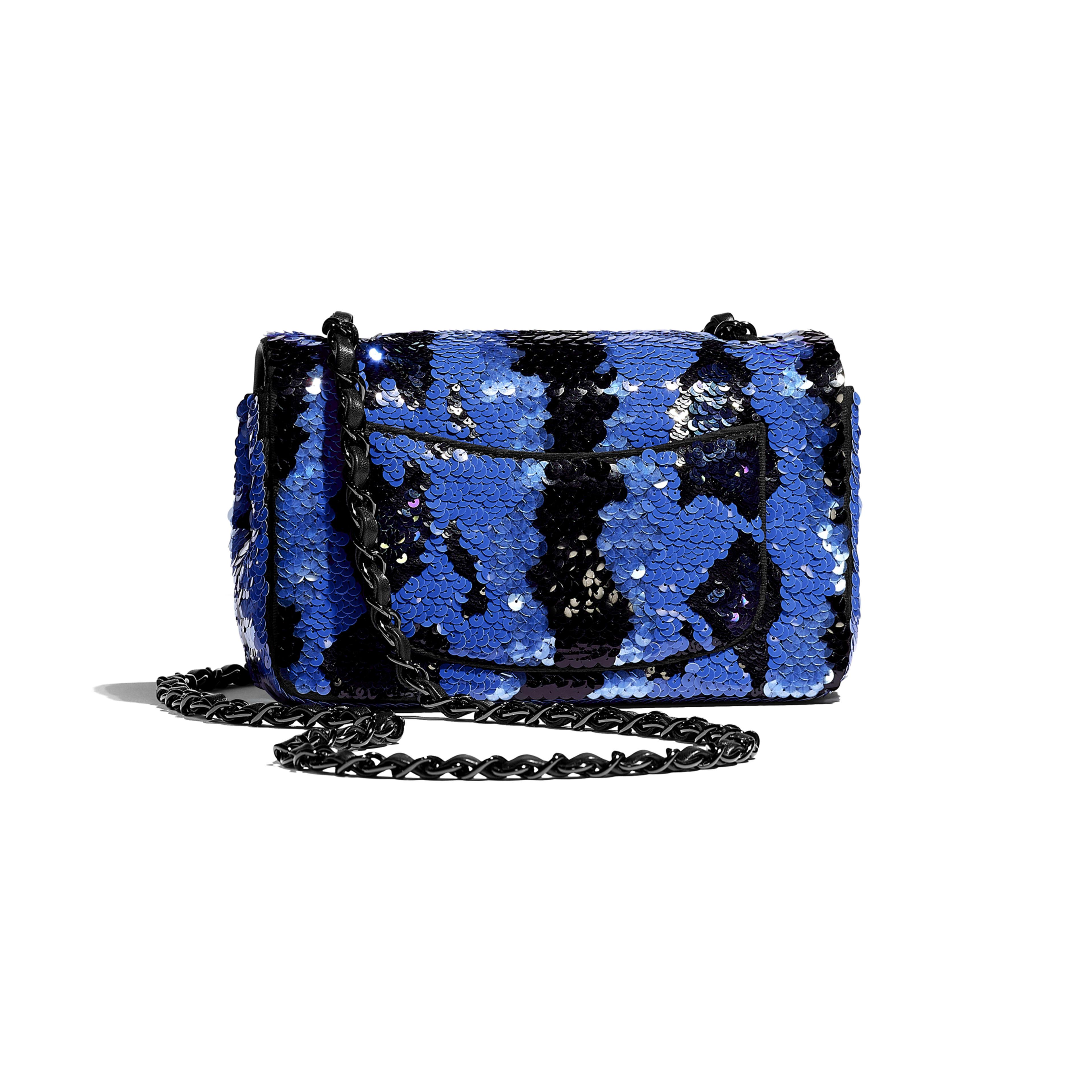 Mini Flap Bag - Blue & Black - Sequins & Black Metal - Alternative view - see full sized version