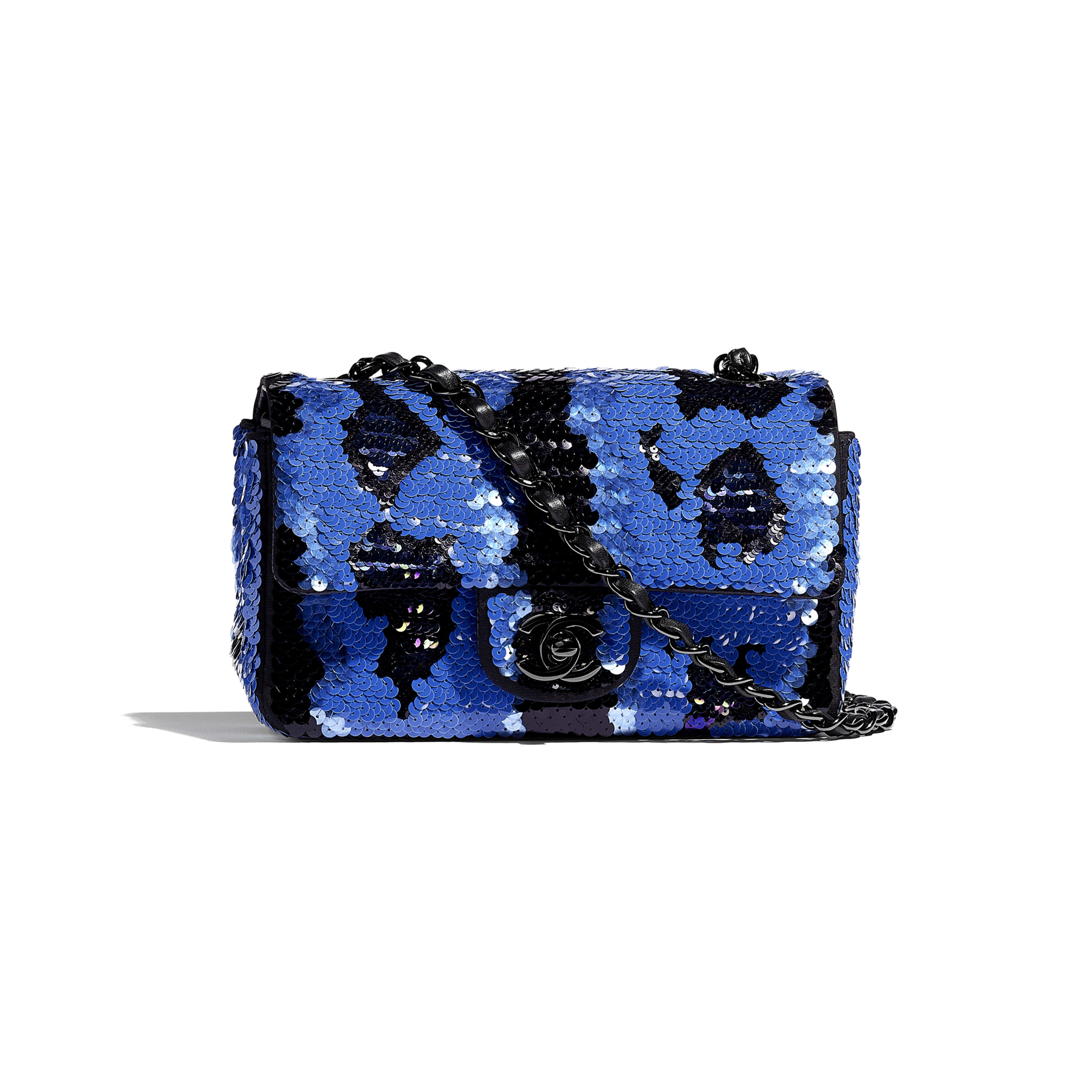 Mini Flap Bag - Blue & Black - Sequins & Black Metal - Default view - see full sized version