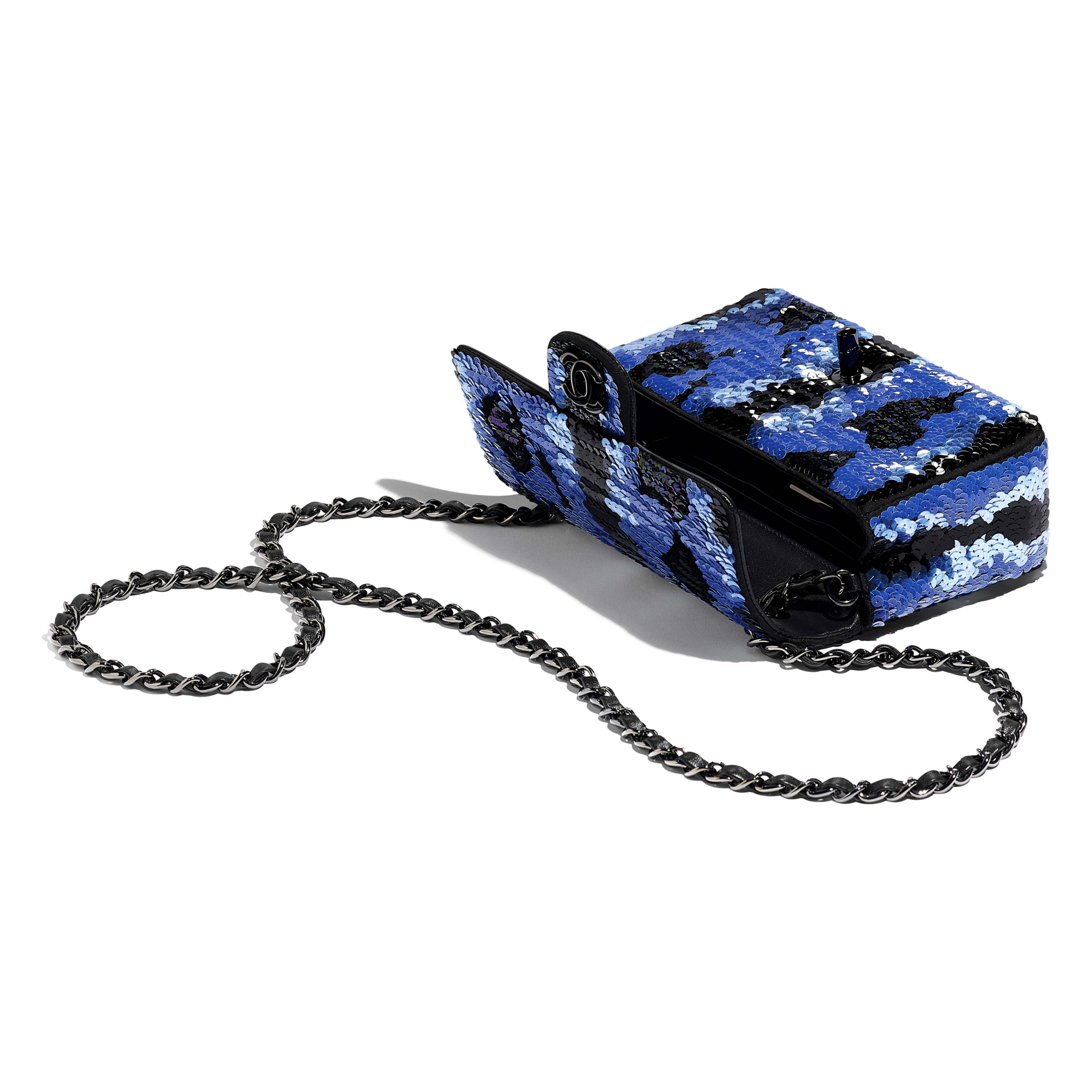 Mini Flap Bag - Blue & Black - Sequins & Black Metal - Other view - see full sized version