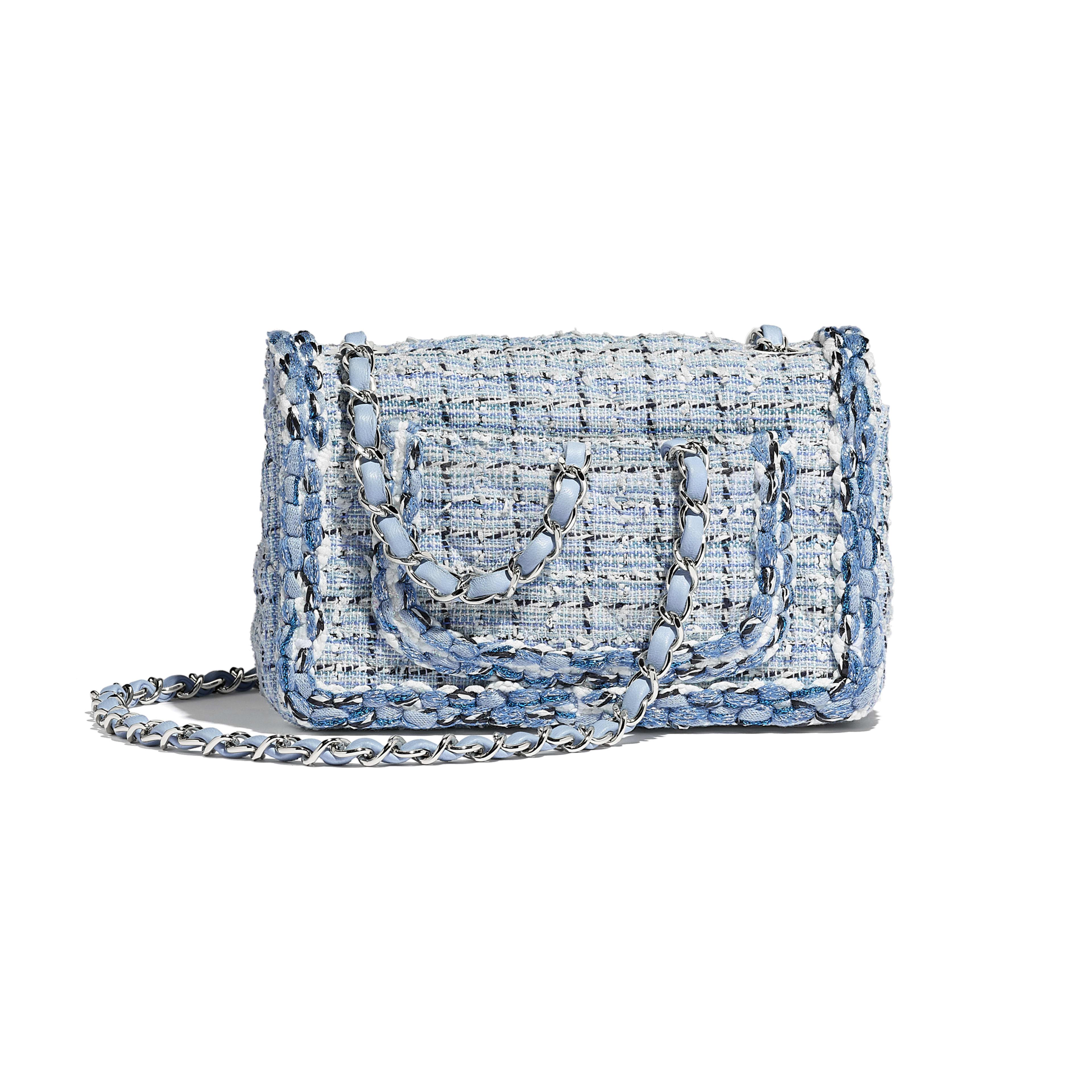 Mini Flap Bag - Blue & White - Tweed, Braid & Silver-Tone Metal - Alternative view - see full sized version