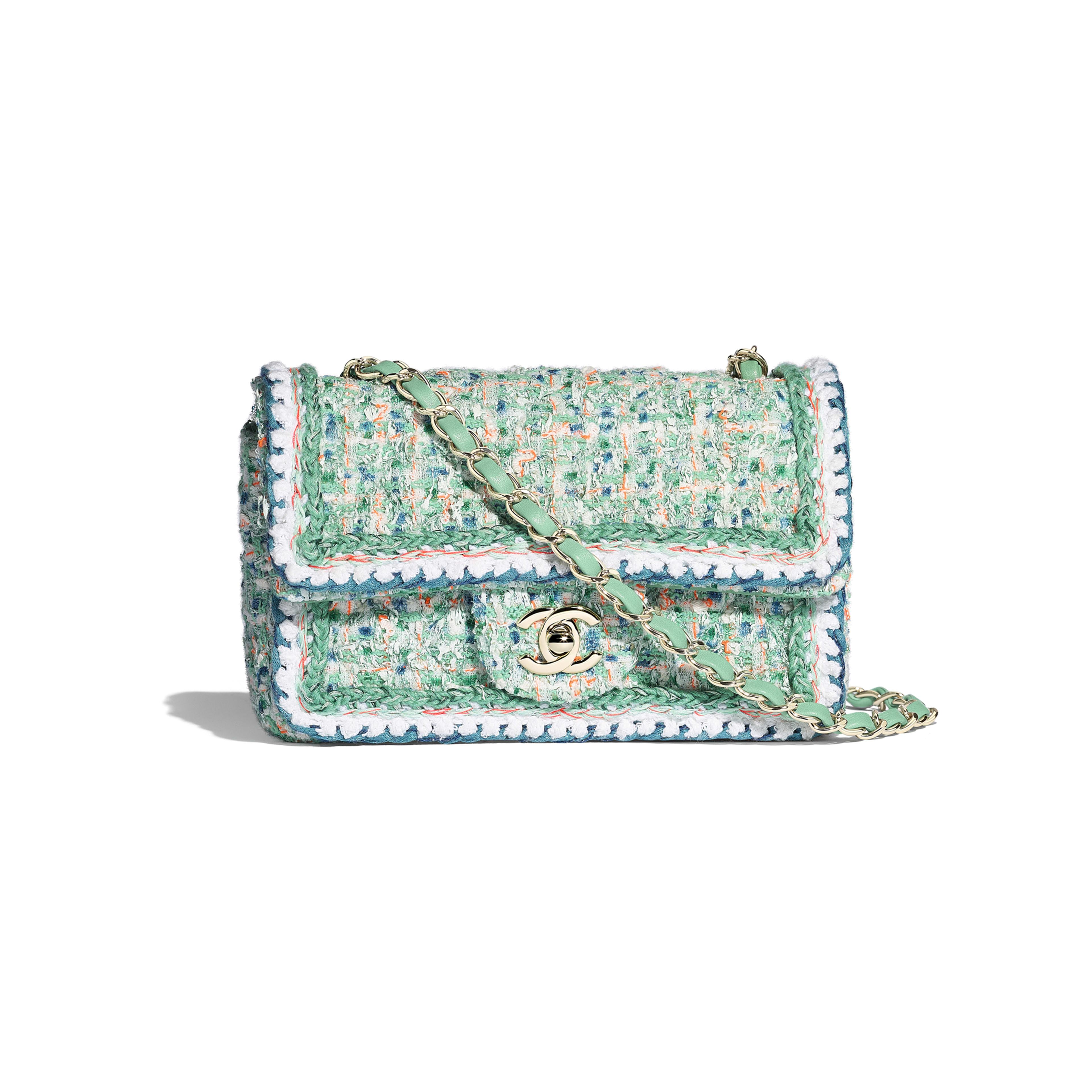 Mini Flap Bag - Green, White, Blue & Orange - Tweed & Gold-Tone Metal - Default view - see full sized version