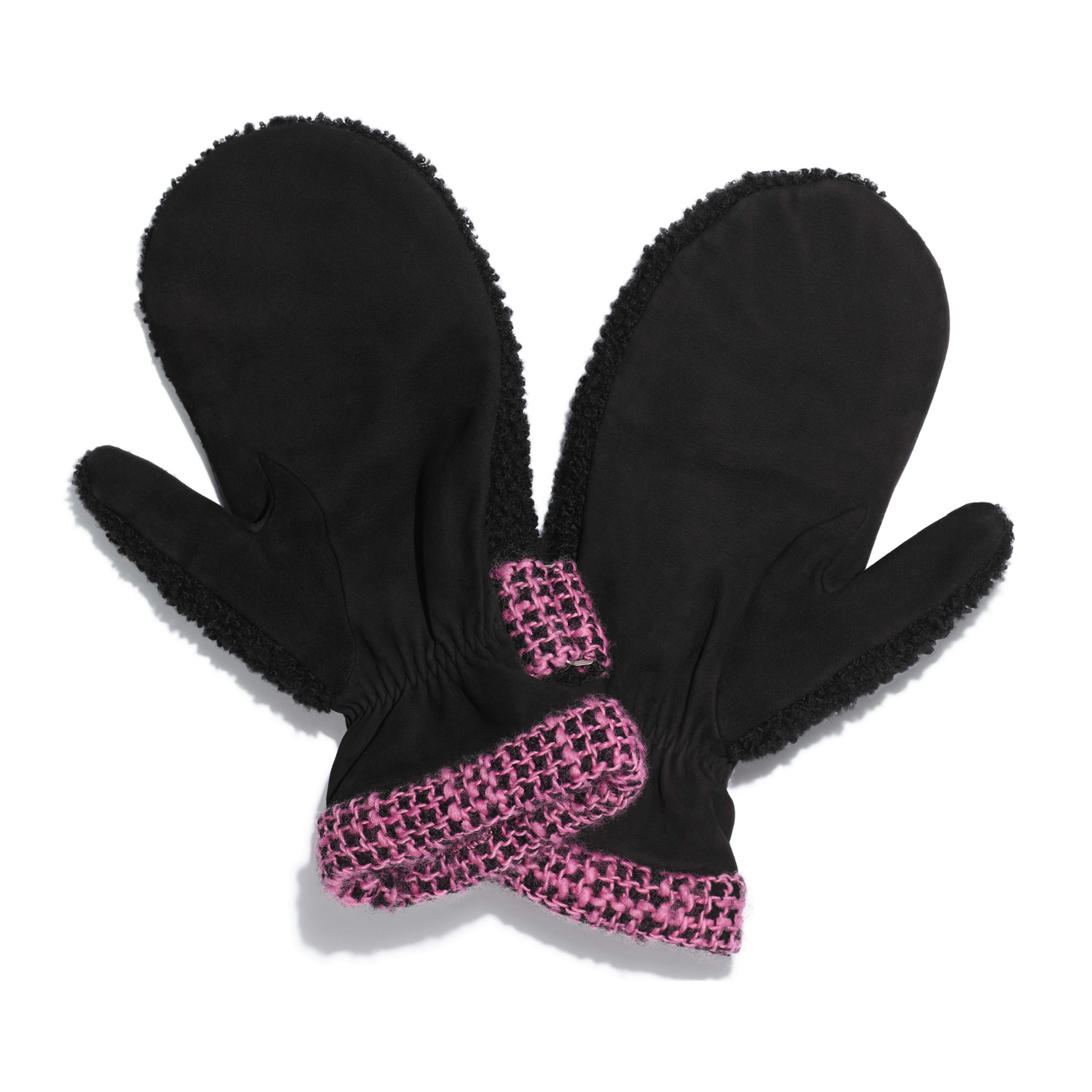 Mittens - Black & Pink - Shearling & Tweed - Alternative view - see full sized version