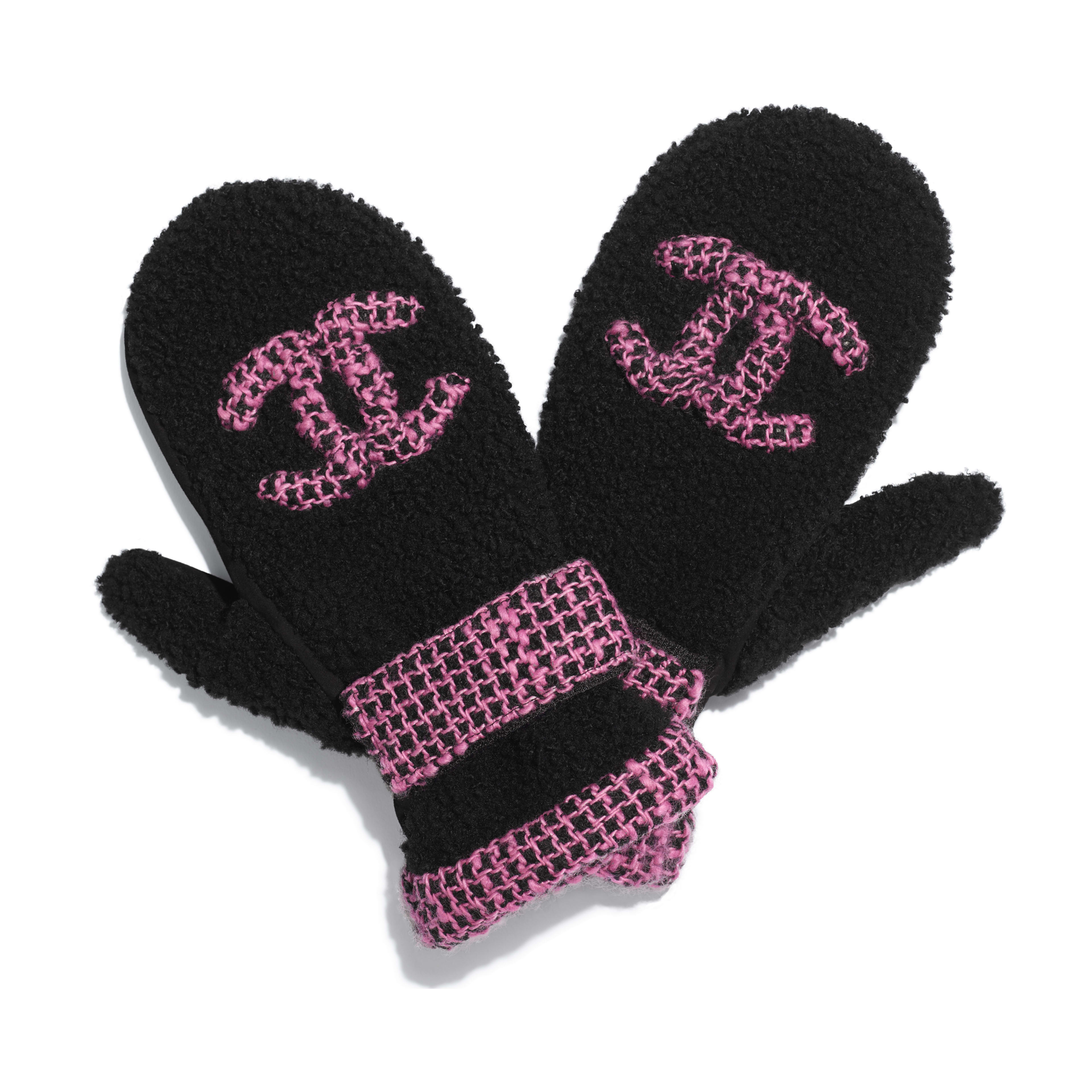 Mittens - Black & Pink - Shearling & Tweed - Default view - see full sized version