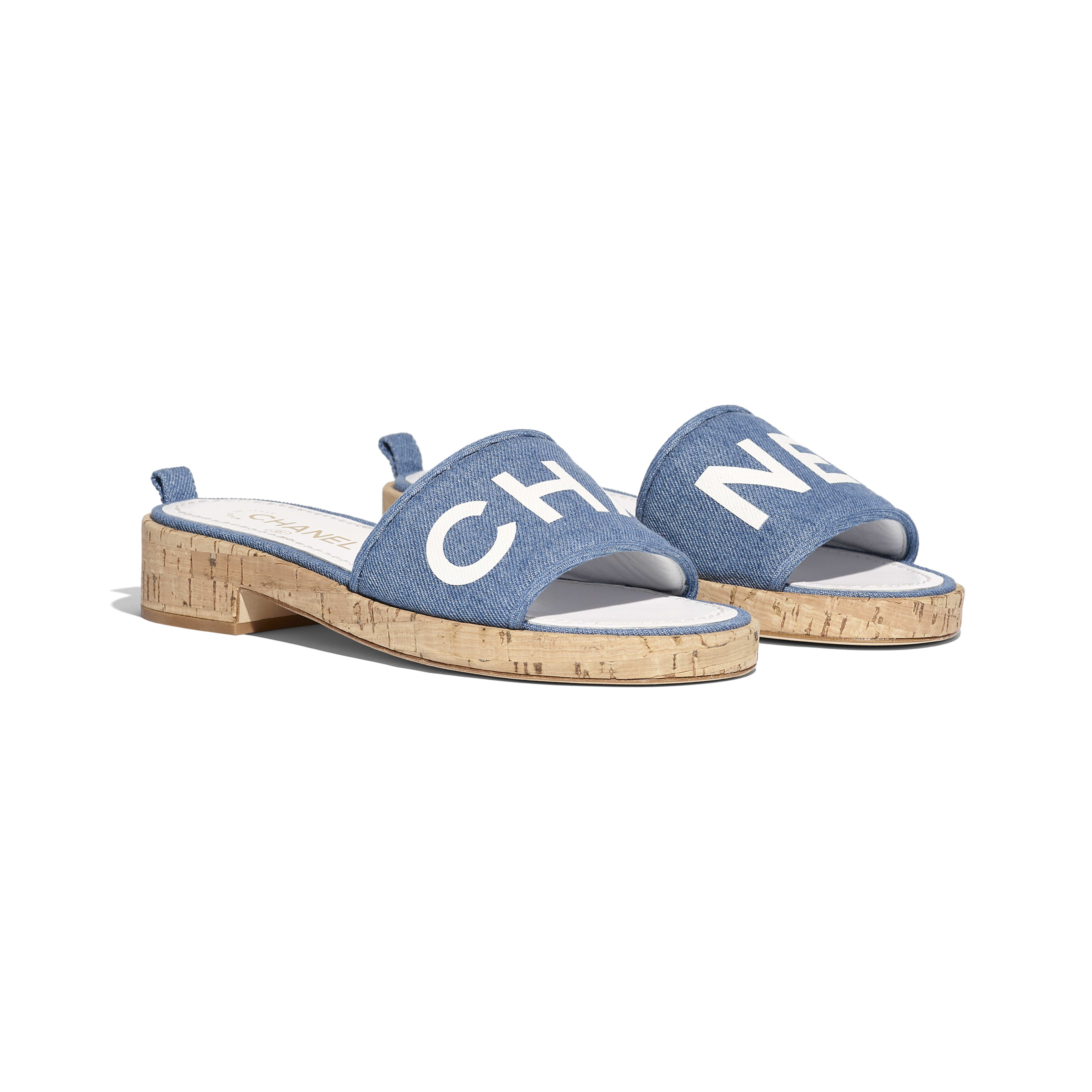 Mules - Blue & White - Denim & Lambskin - Alternative view - see full sized version