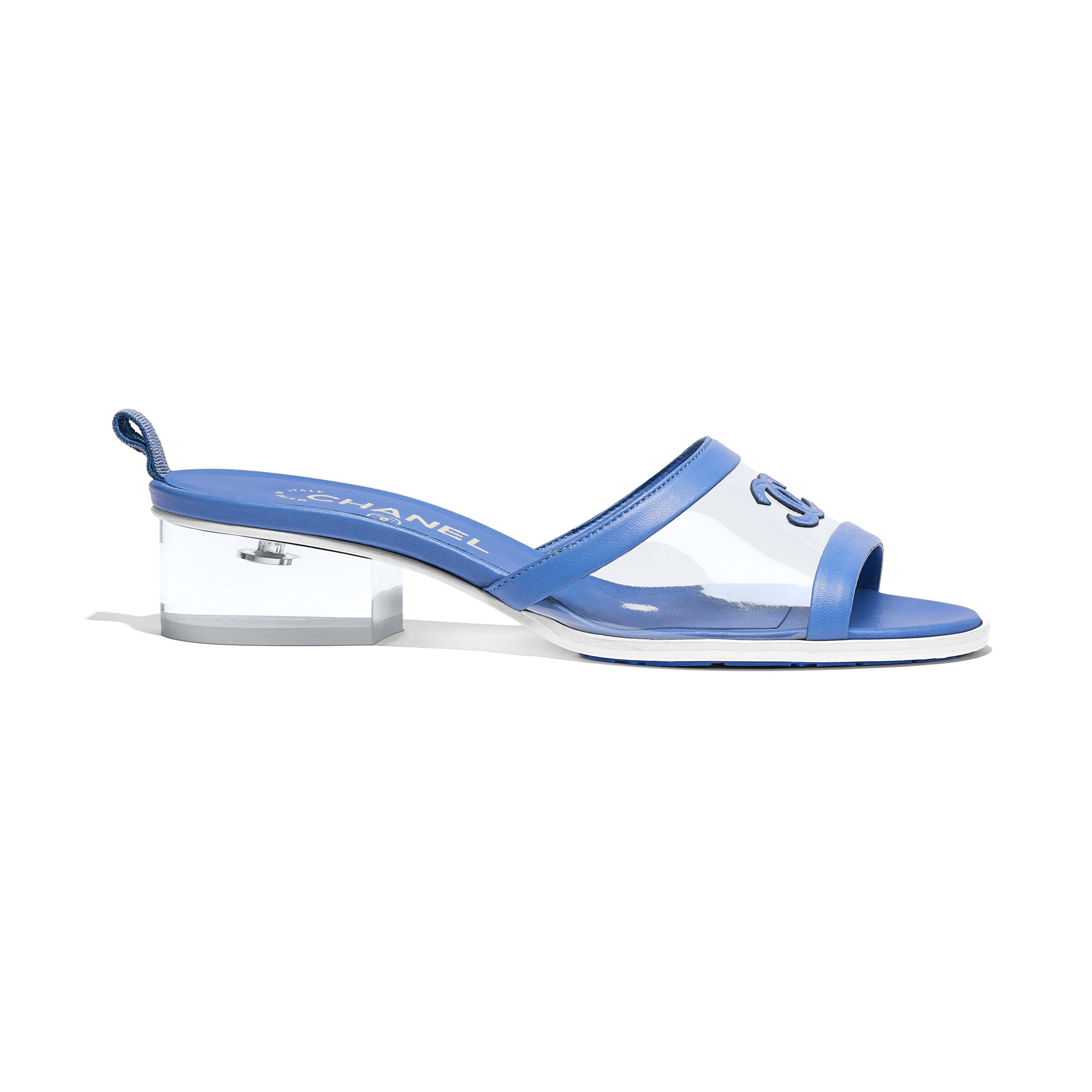 Mules - Transparent & Blue - PVC & Lambskin - Default view - see full sized version