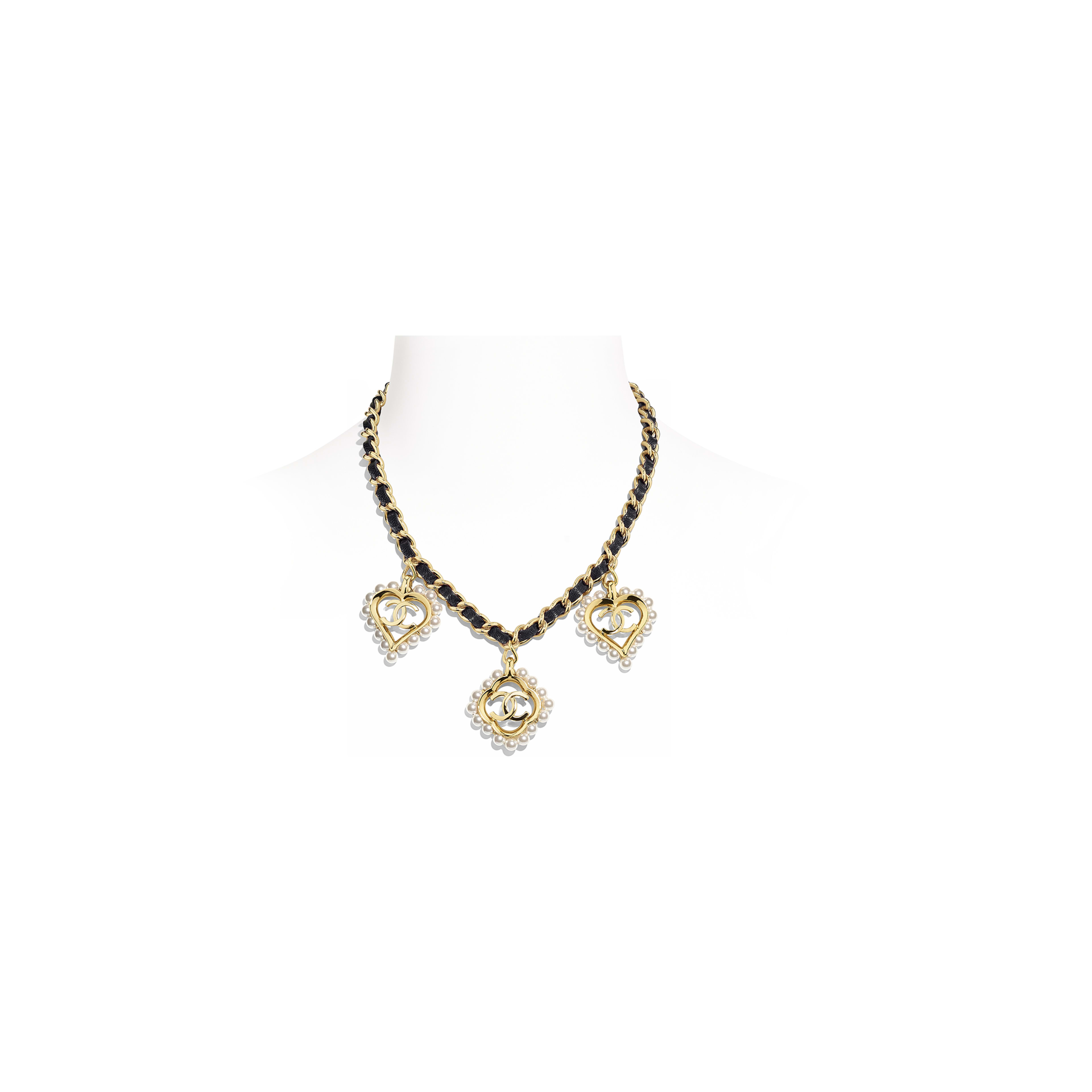 Necklace - Gold, Black & Pearly White - Metal, Calfskin & Glass Pearls - Default view - see full sized version