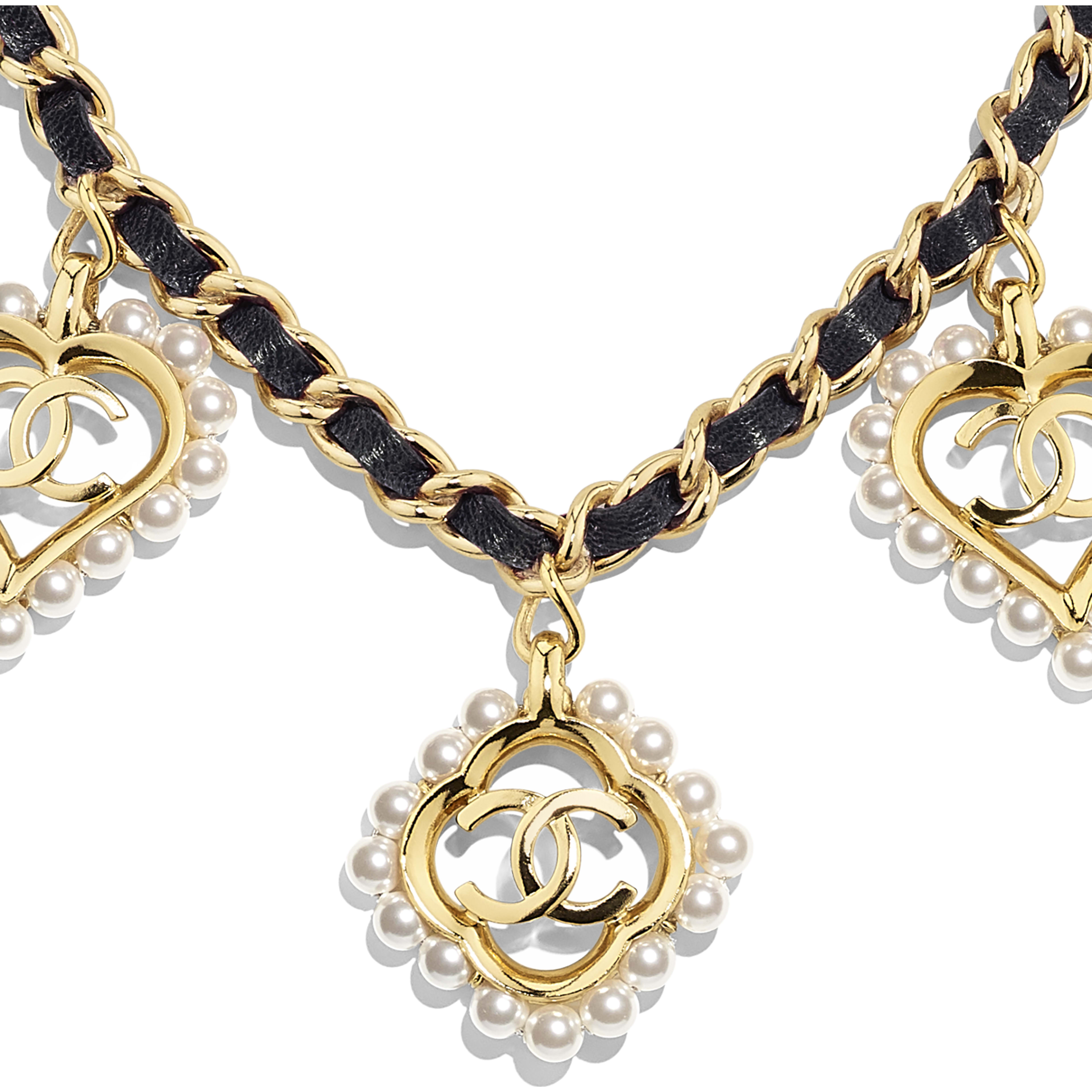 Necklace - Gold, Black & Pearly White - Metal, Calfskin & Glass Pearls - Other view - see full sized version