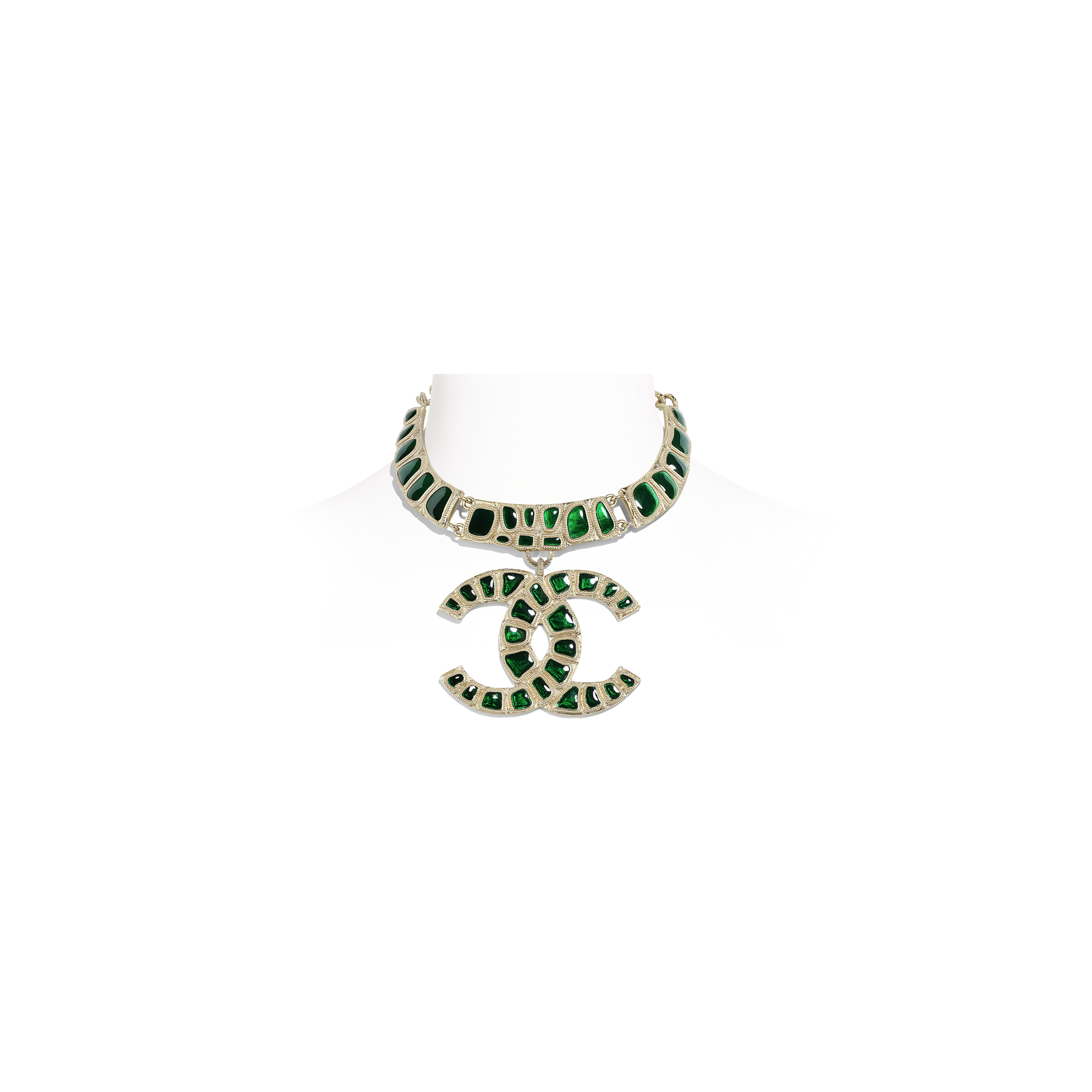 Necklace - Gold & Green - Metal & Resin - Default view - see full sized version