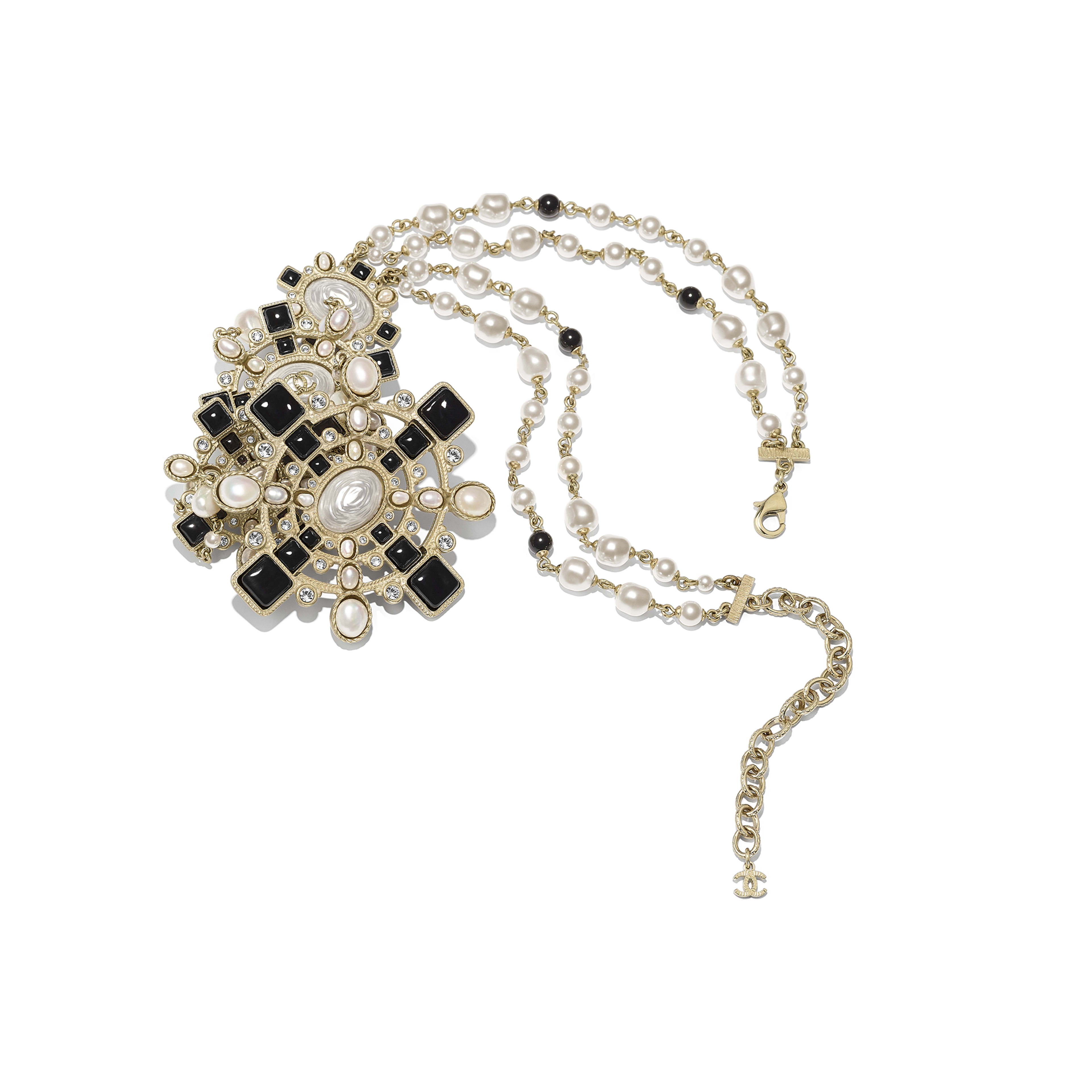 Necklace - Gold, Pearly White, Black & Crystal - Metal, Cultured Fresh Water Pearls, Glass Pearls, Diamanté & Resin - Alternative view - see full sized version