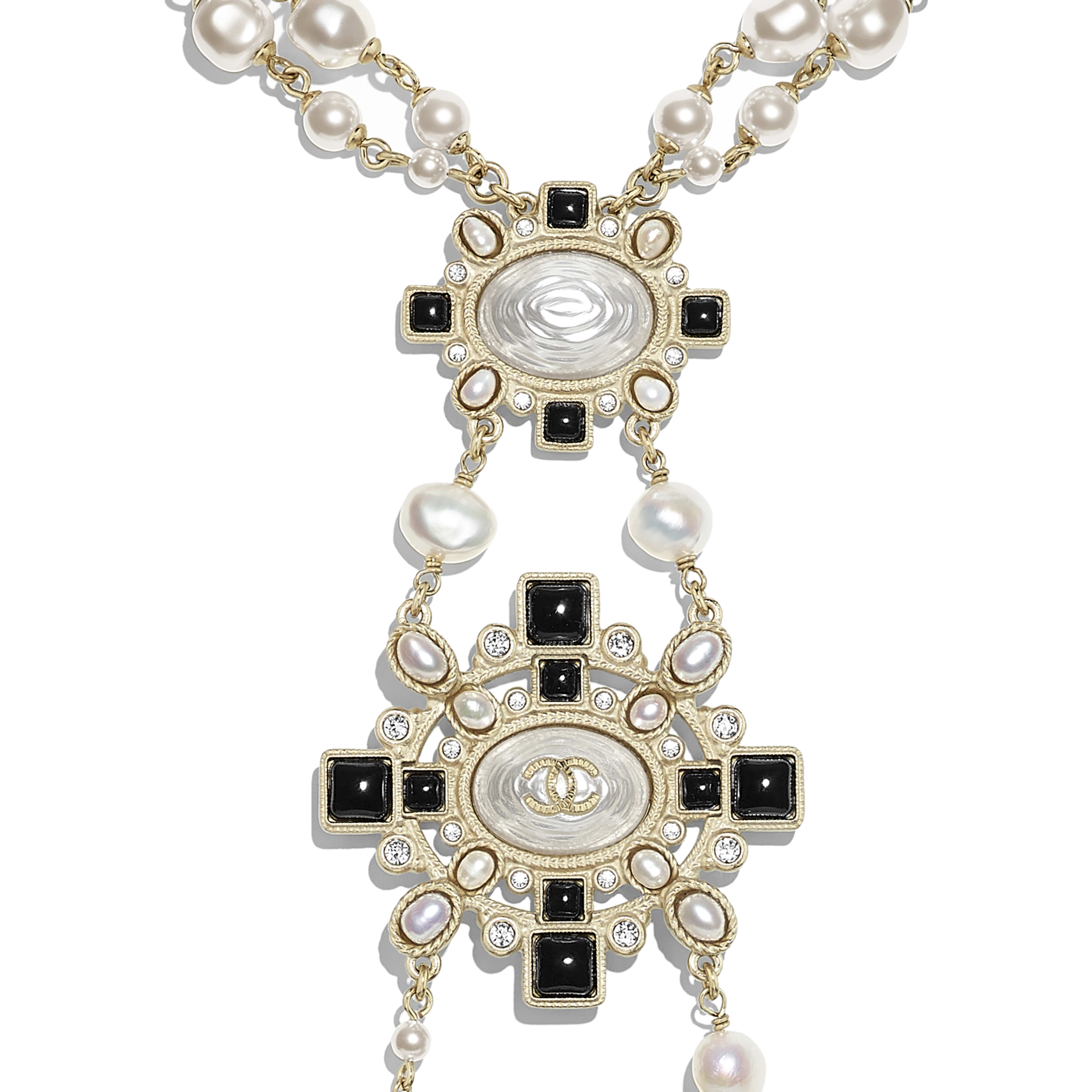 Necklace - Gold, Pearly White, Black & Crystal - Metal, Cultured Fresh Water Pearls, Glass Pearls, Diamanté & Resin - Other view - see full sized version