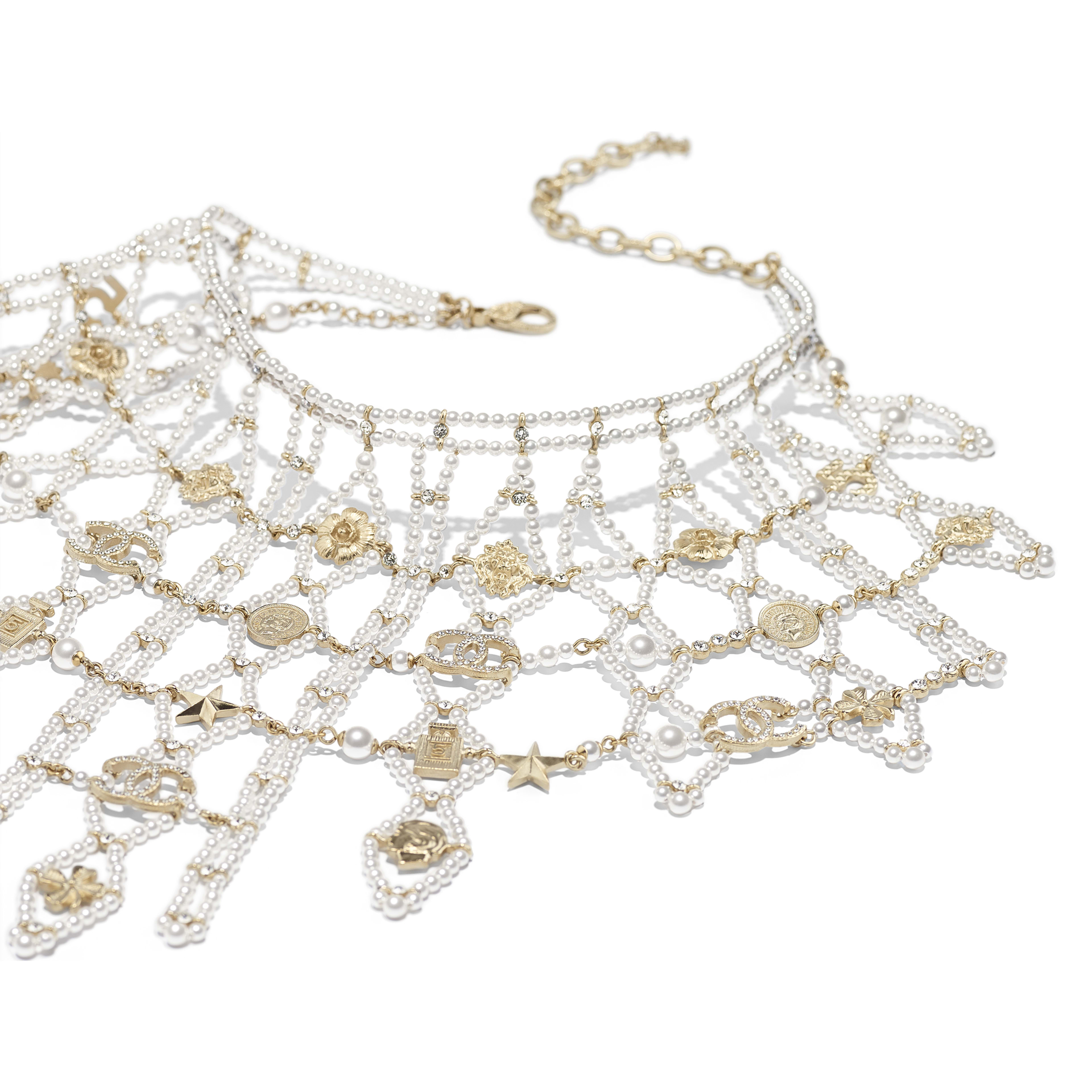 Necklace - Gold, Pearly White & Crystal - Metal, Glass Pearls & Diamantés - Alternative view - see full sized version