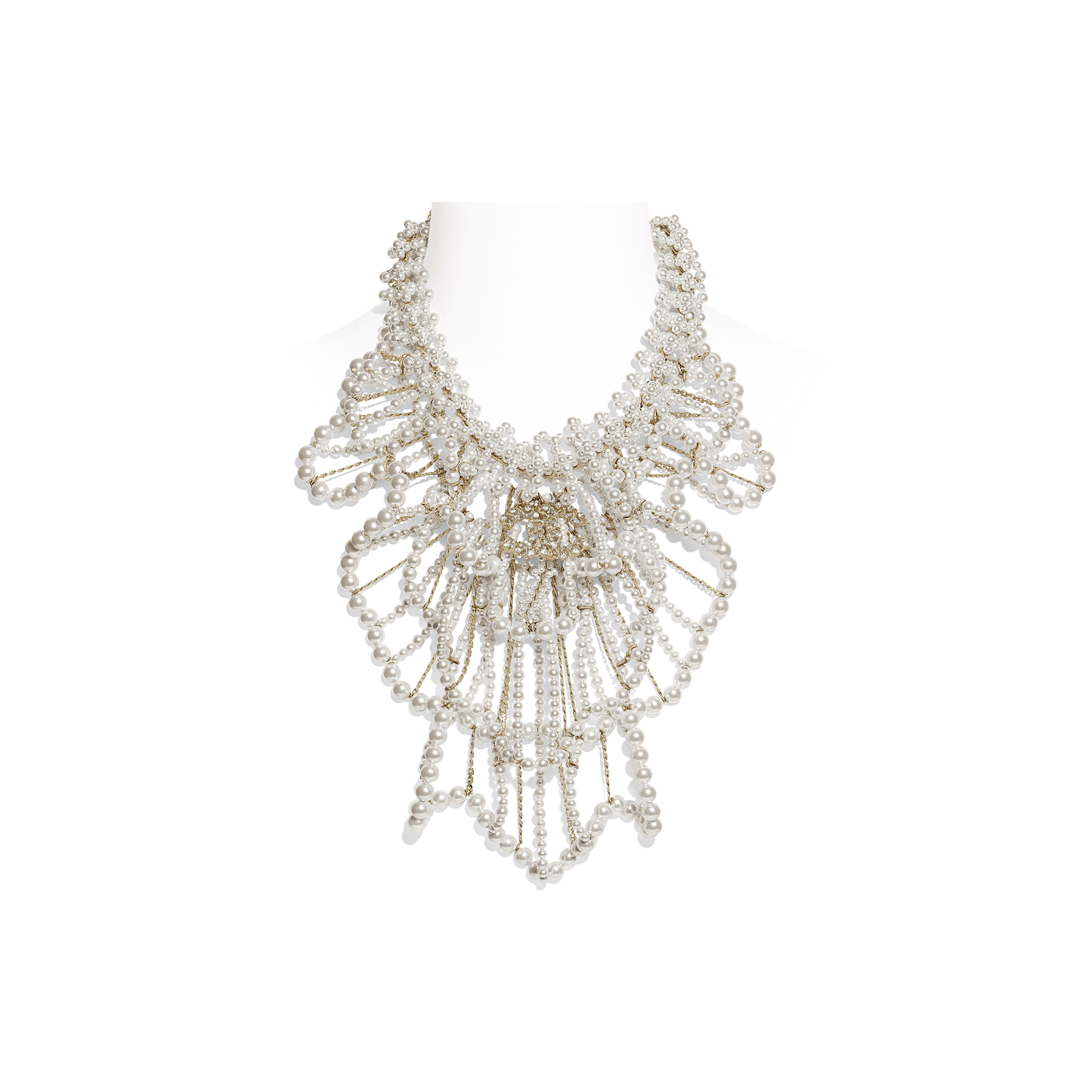 Necklace - Gold, Pearly White & Crystal - Metal, Glass Pearls & Diamantés - Default view - see full sized version