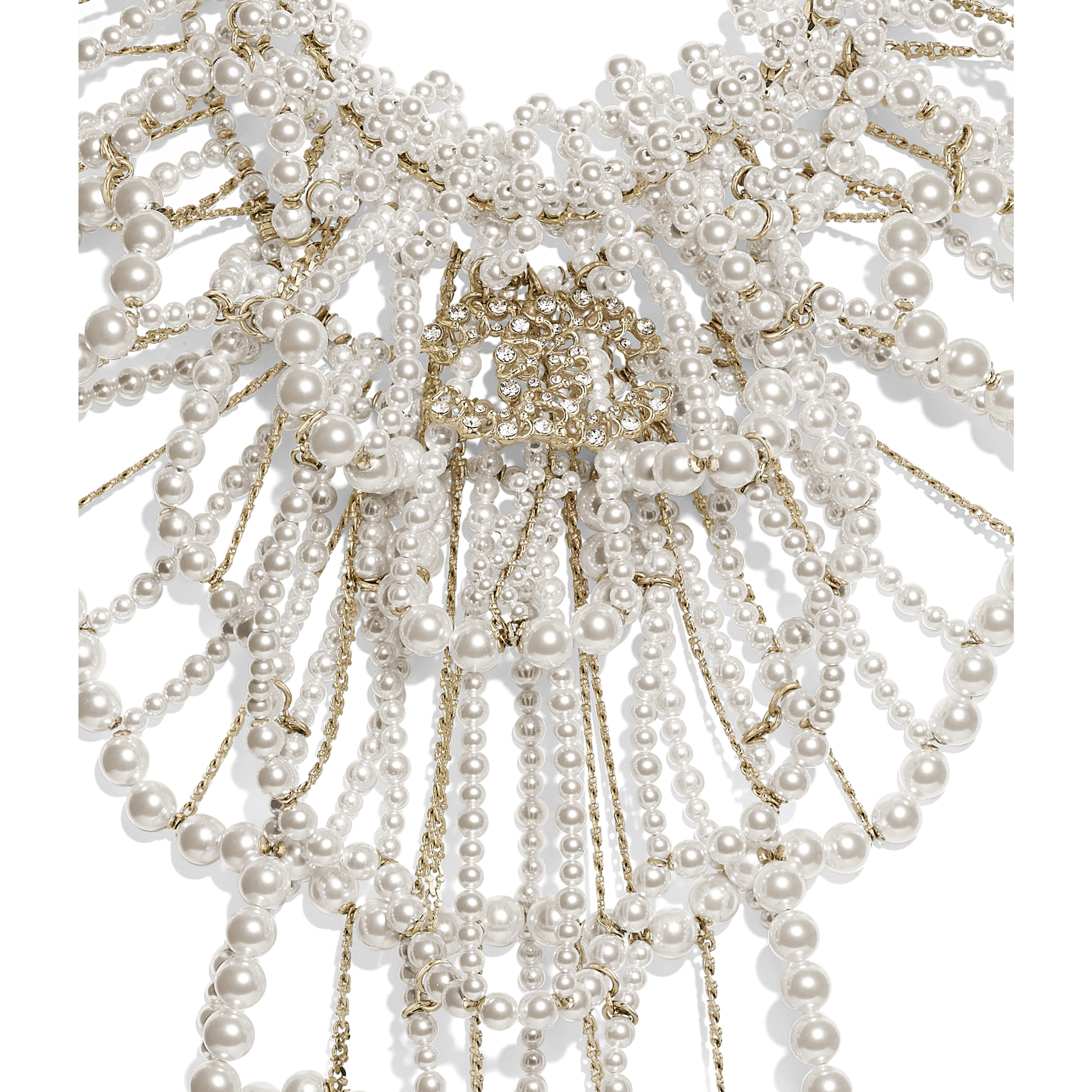 Necklace - Gold, Pearly White & Crystal - Metal, Glass Pearls & Diamantés - Other view - see full sized version