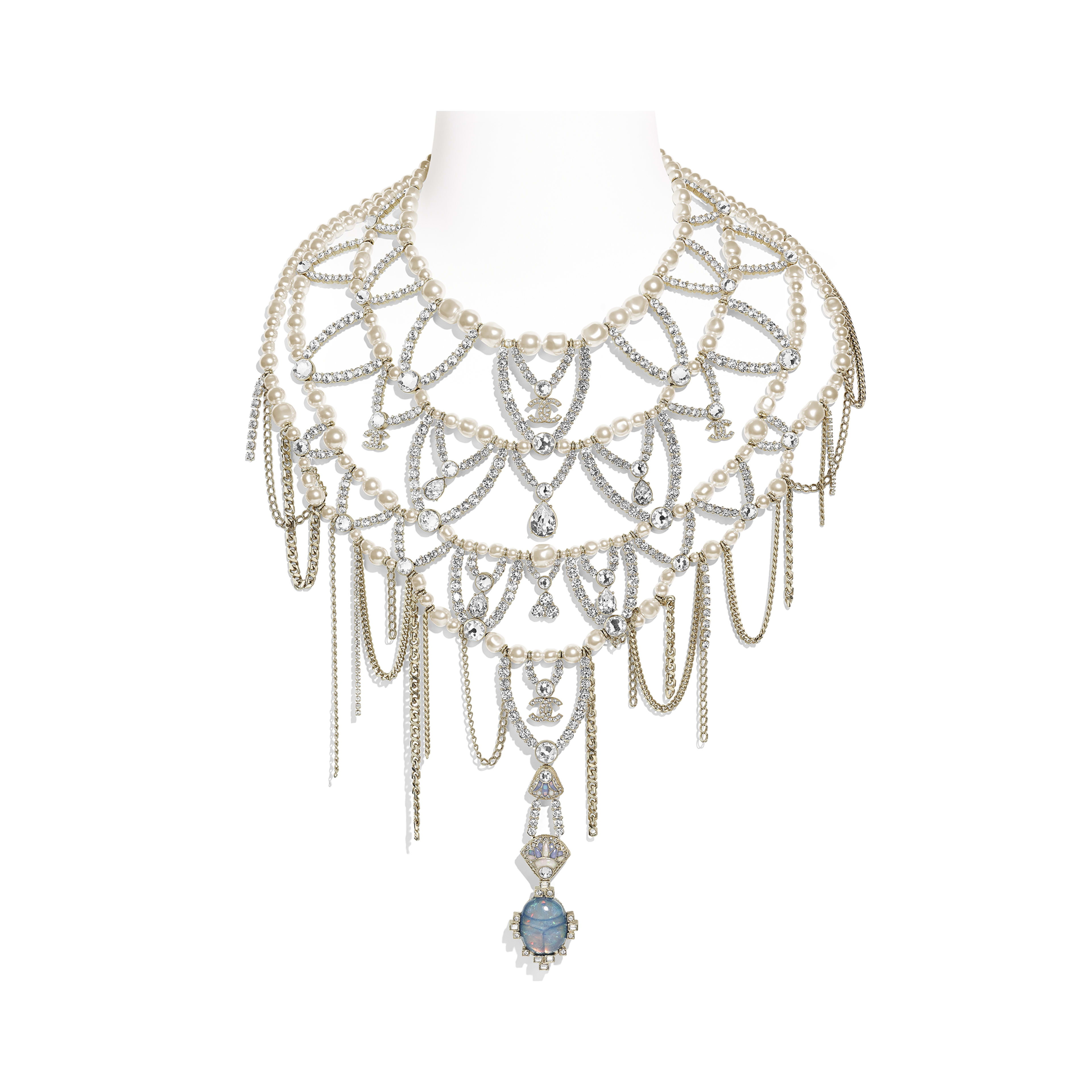 Necklace - Gold, Pearly White & Crystal - Metal, Glass Pearls, Strass & Resin - Default view - see full sized version