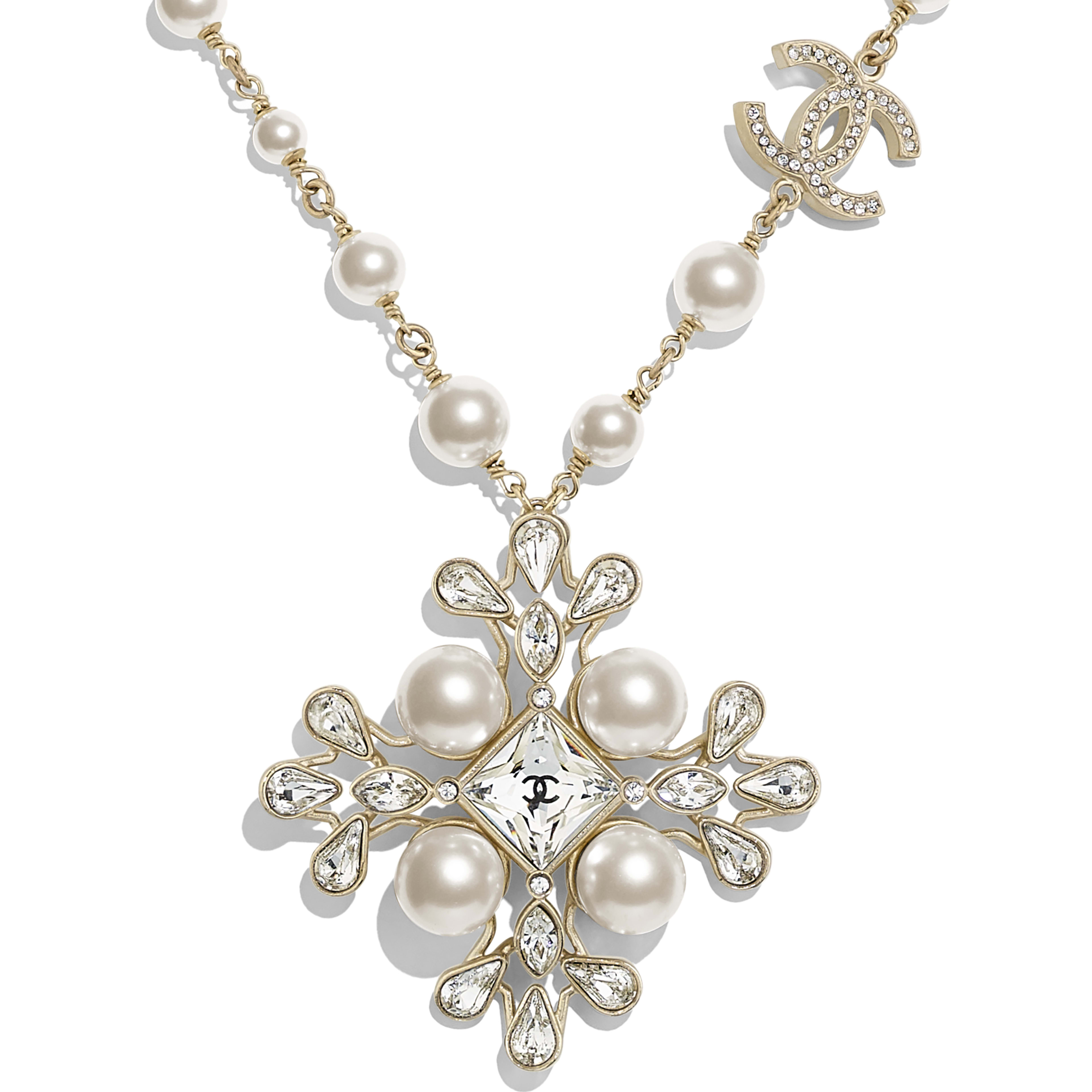 Necklace - Gold, Pearly White & Crystal - Metal, Glass Pearls, Strass & Resin - Other view - see full sized version