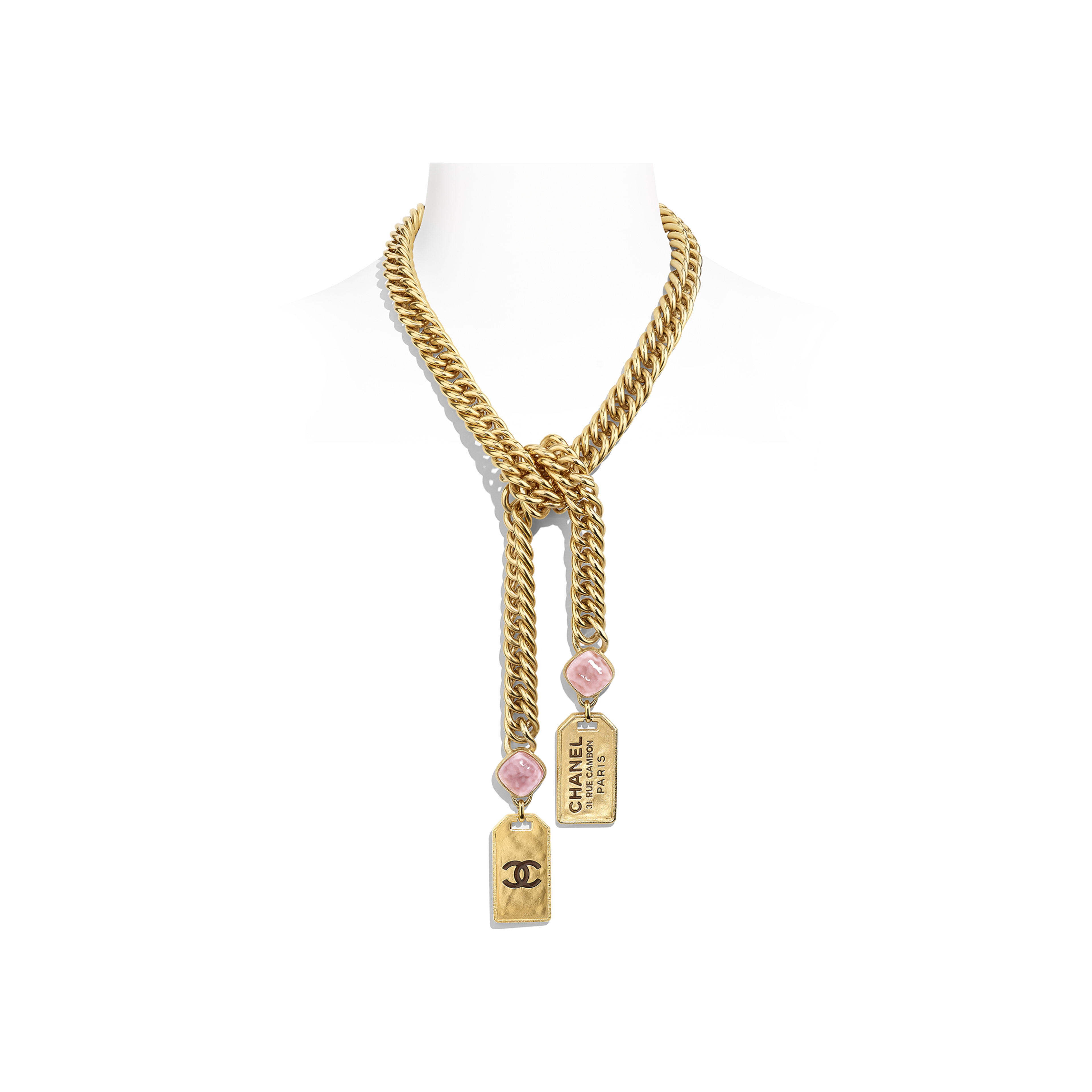 Necklace - Gold & Pink - Metal & Glass - Default view - see full sized version