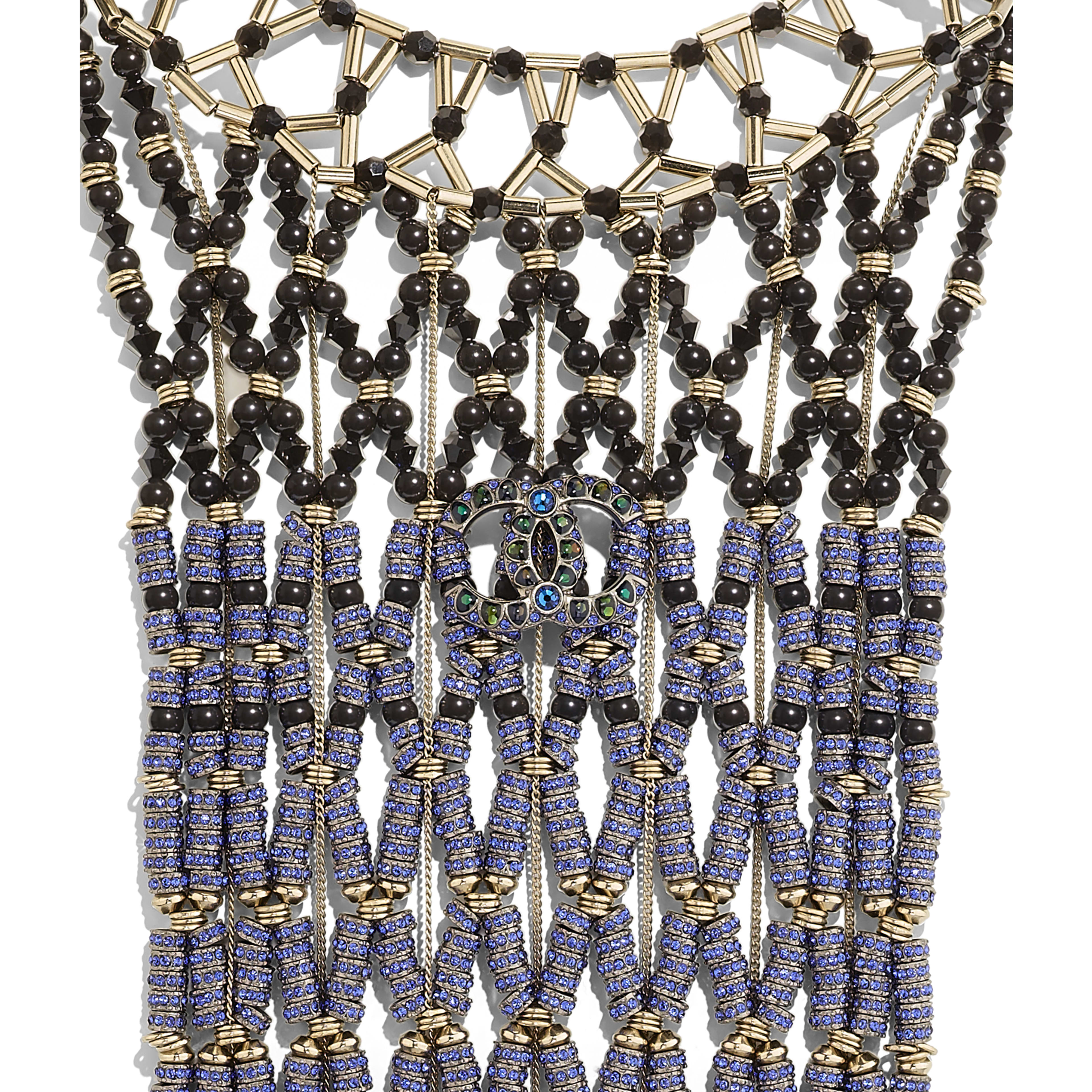 Necklace - Ruthenium, Gold, Black & Blue - Metal, Glass Pearls & Strass - Other view - see full sized version