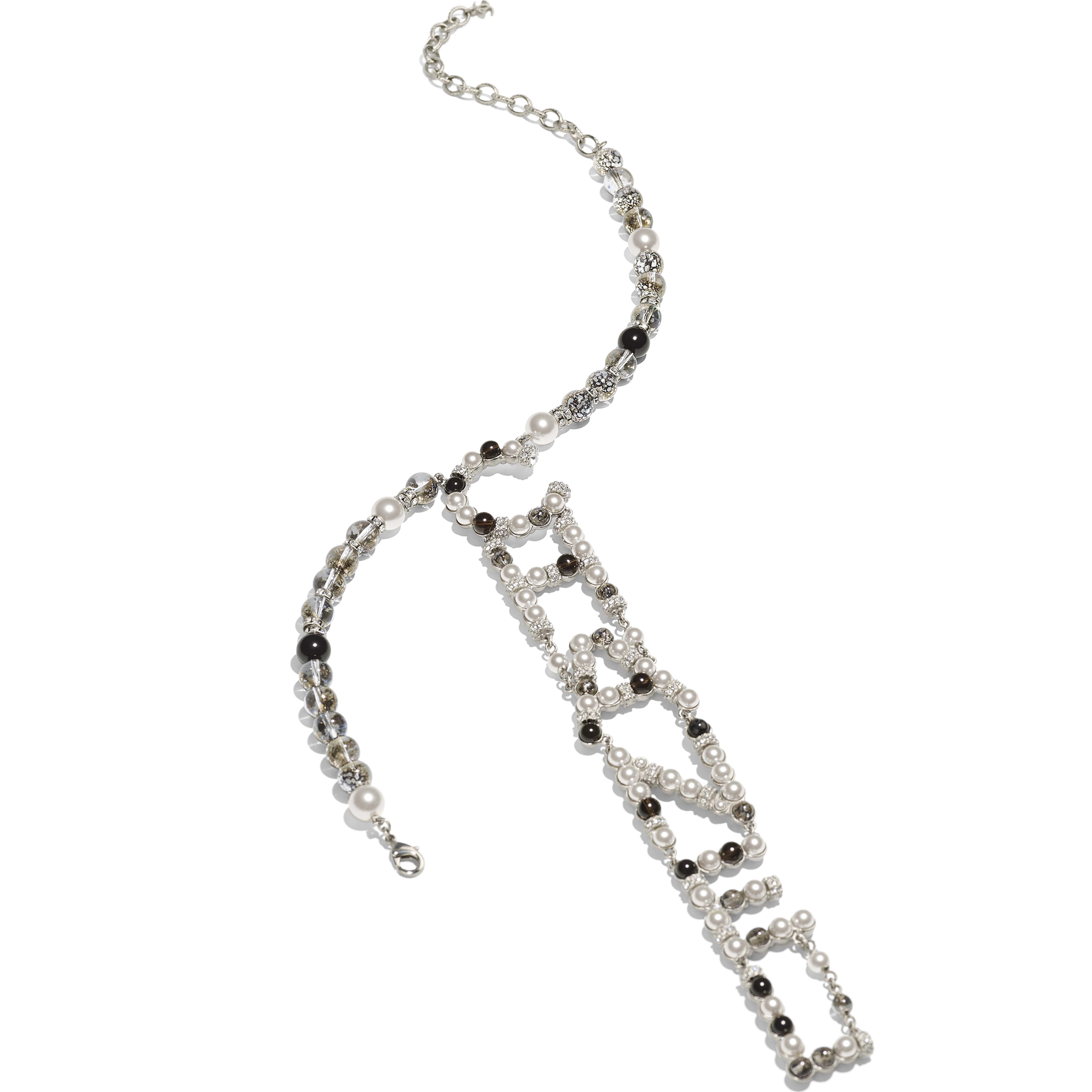 Necklace - Silver, Pearly White, Black & Crystal - Metal, Natural Stones, Glass Pearls & Strass - Alternative view - see full sized version