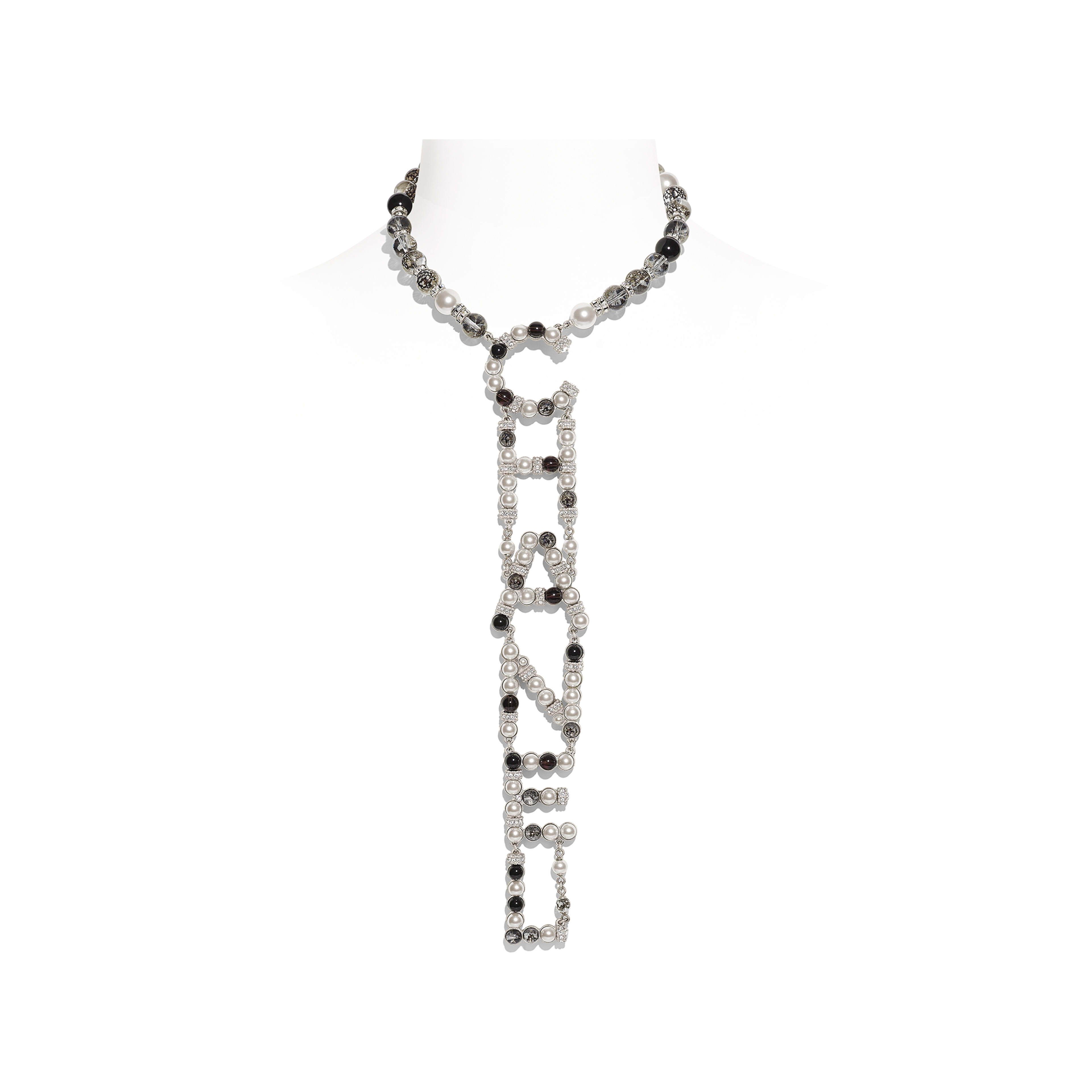 Necklace - Silver, Pearly White, Black & Crystal - Metal, Natural Stones, Glass Pearls & Strass - Default view - see full sized version