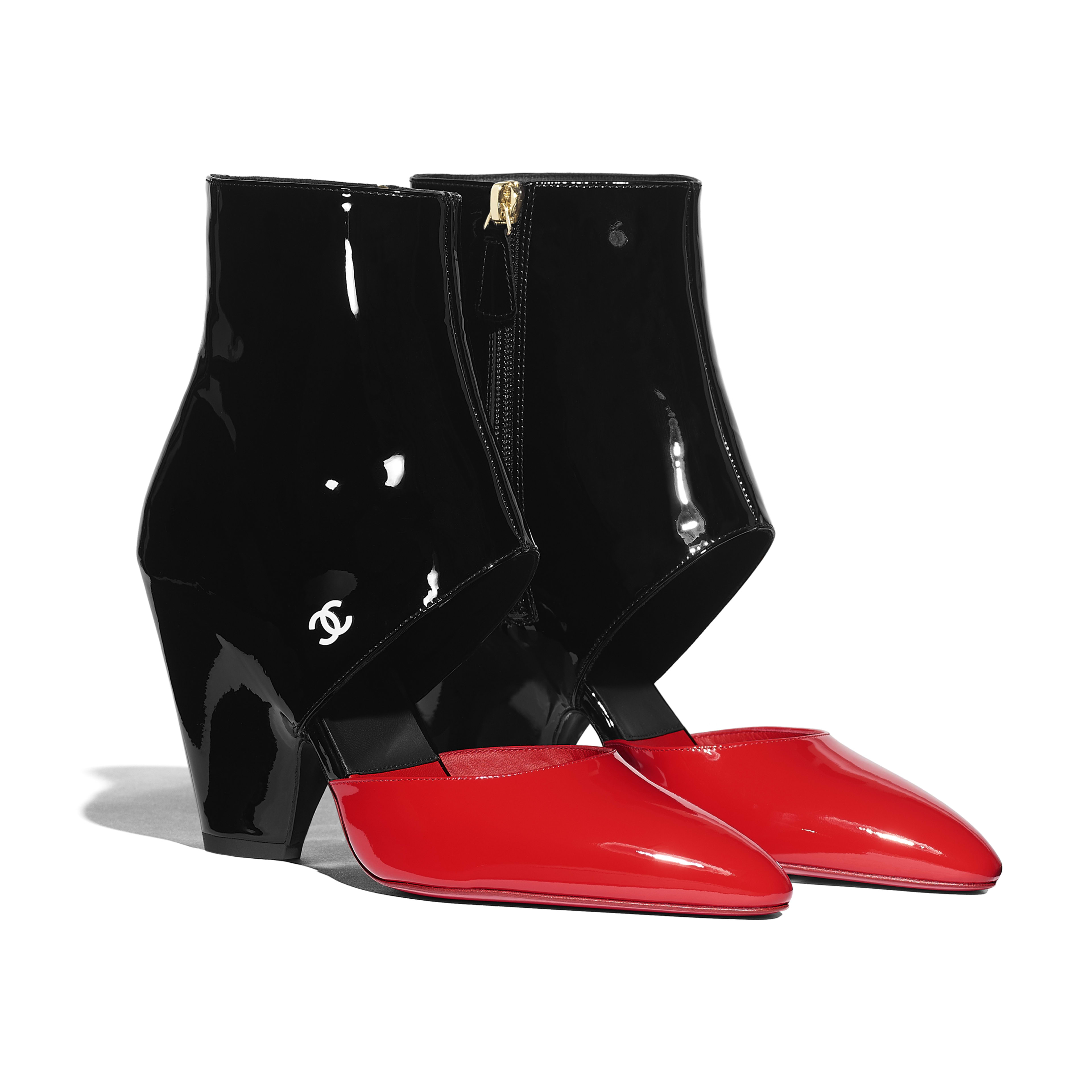 Open Ankle Boots - Red & Black - Patent Calfskin - Alternative view - see full sized version