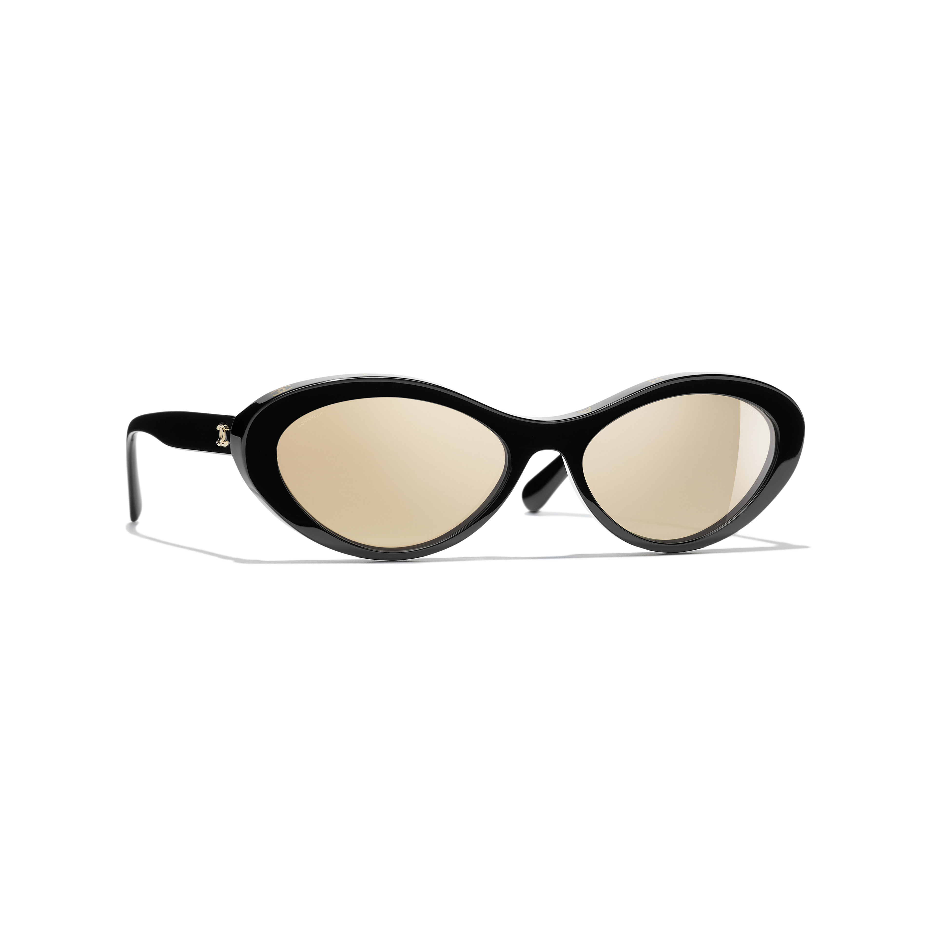 Oval Sunglasses - Black - Acetate - Default view - see full sized version