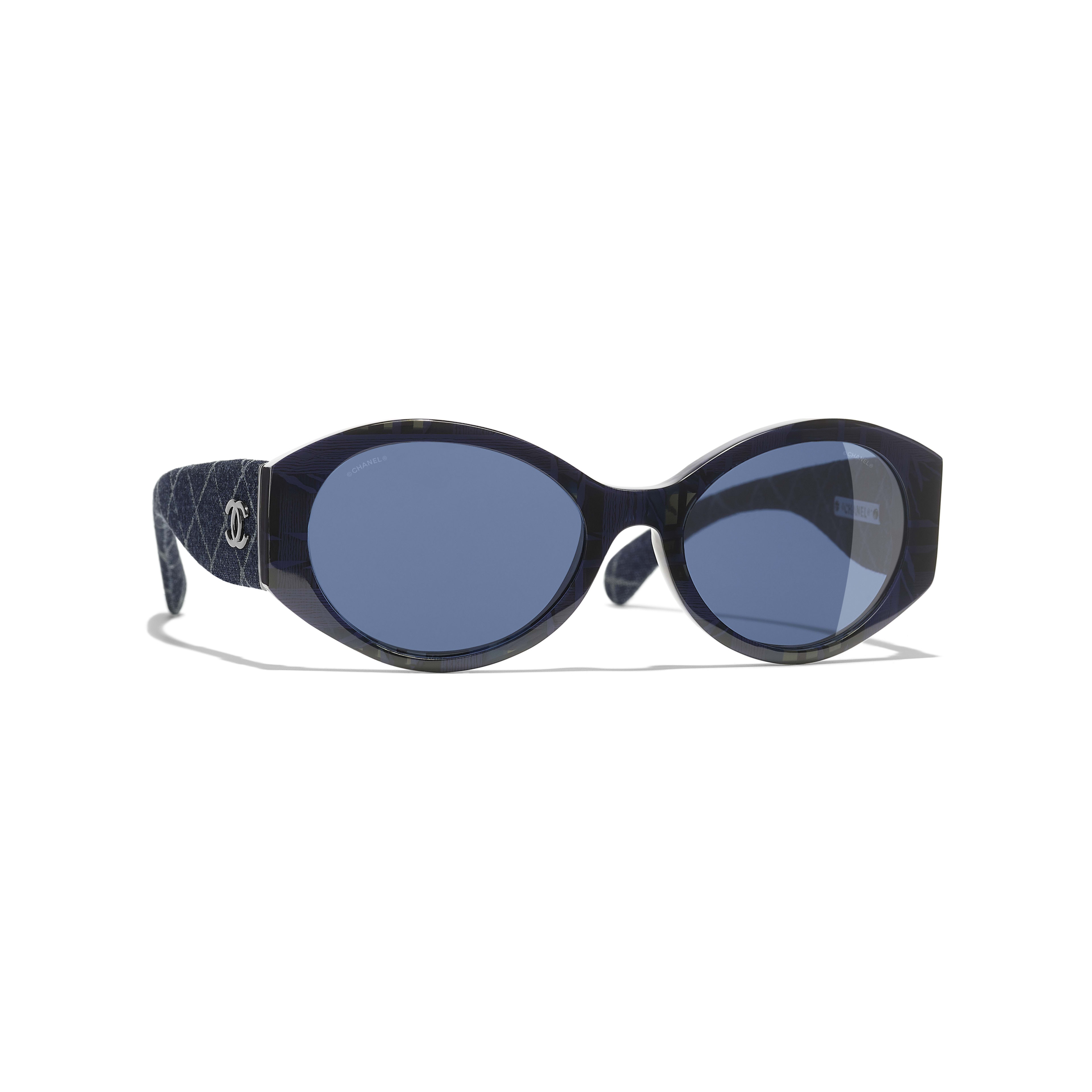 Oval Sunglasses - Blue & Dark Blue - Acetate & Denim - Default view - see full sized version