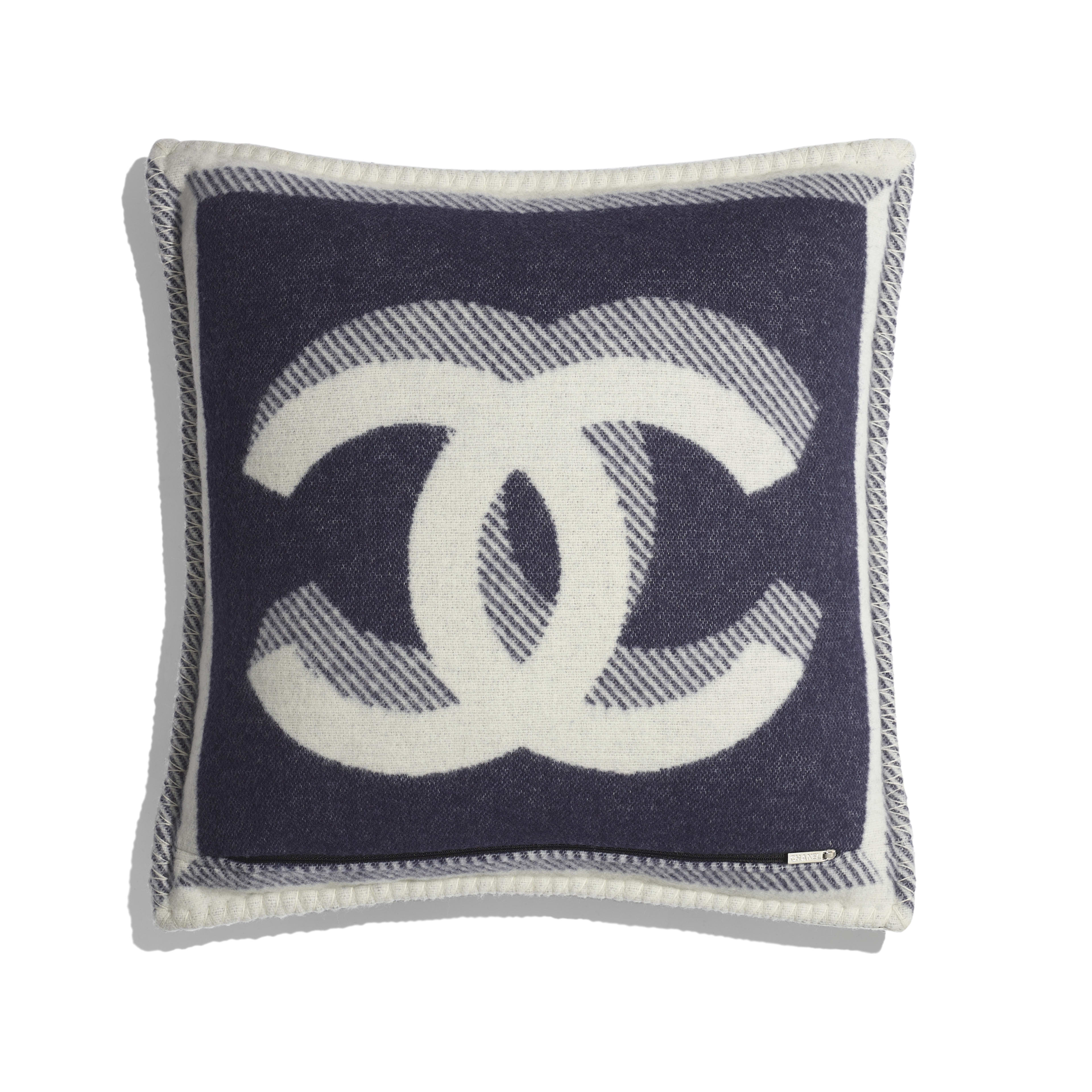 Pillow - Ivory & Navy Blue - Wool & Cashmere - Alternative view - see full sized version