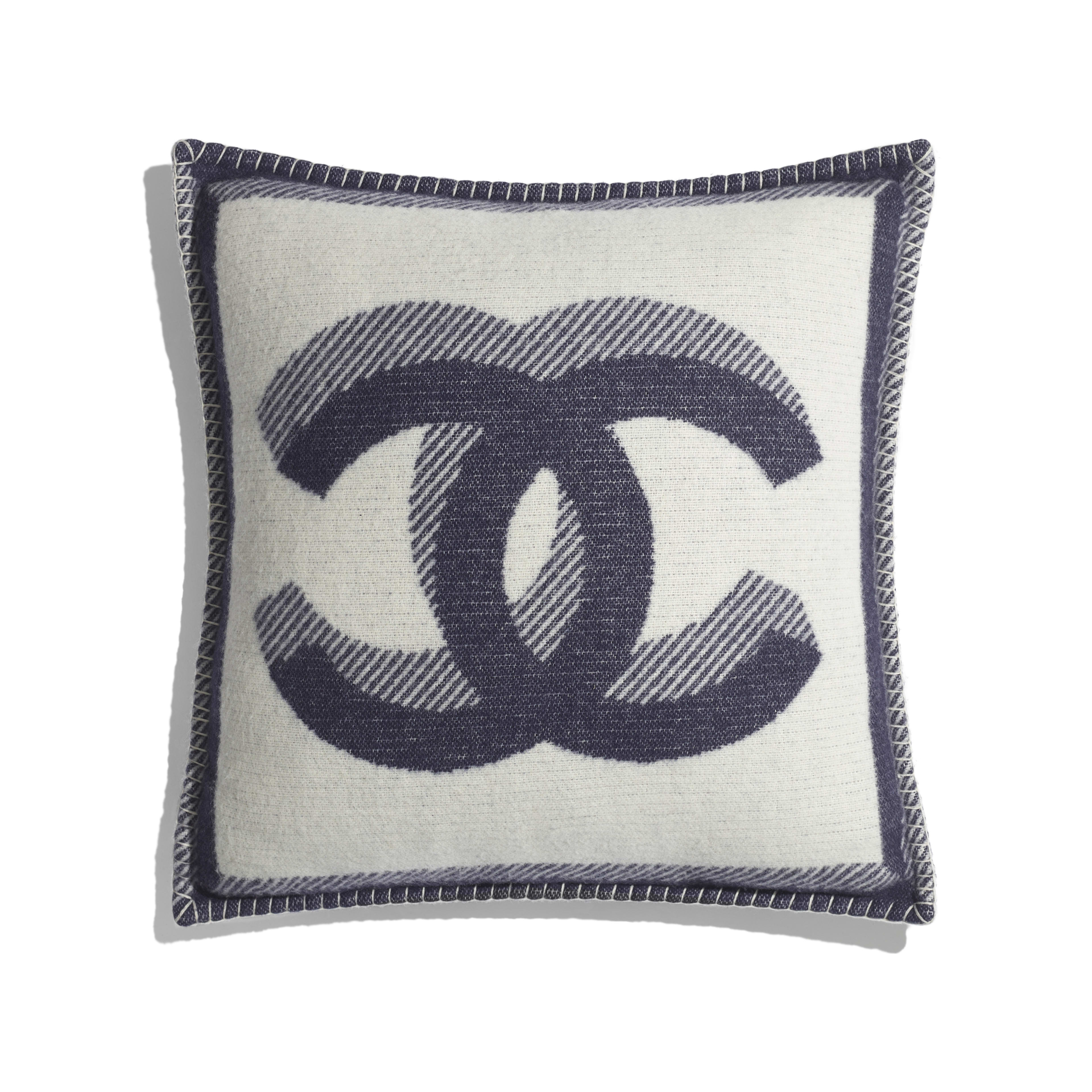 Pillow - Ivory & Navy Blue - Wool & Cashmere - Default view - see full sized version