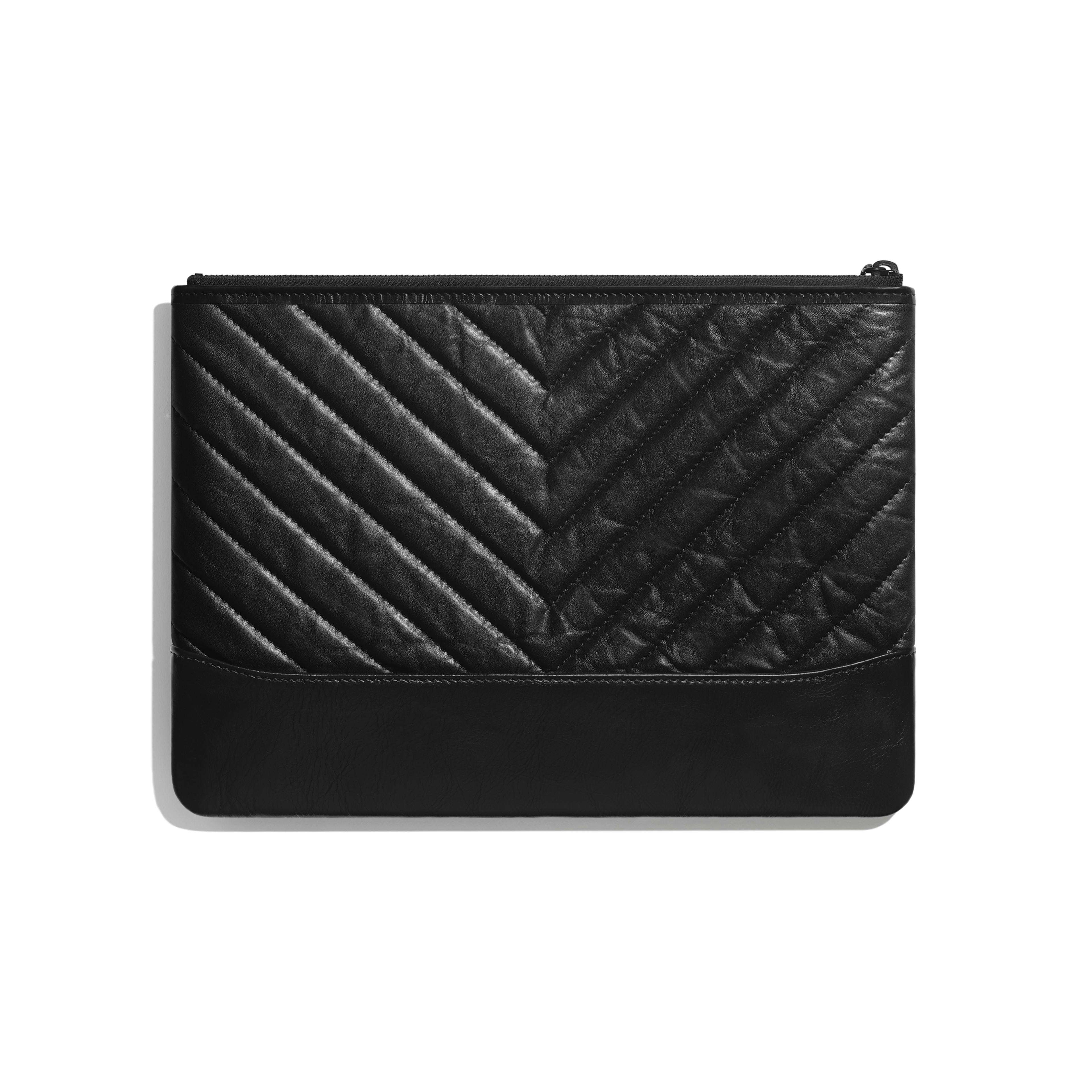 Pouch - Black - Aged Calfskin, Smooth Calfskin & Black Metal - Alternative view - see full sized version