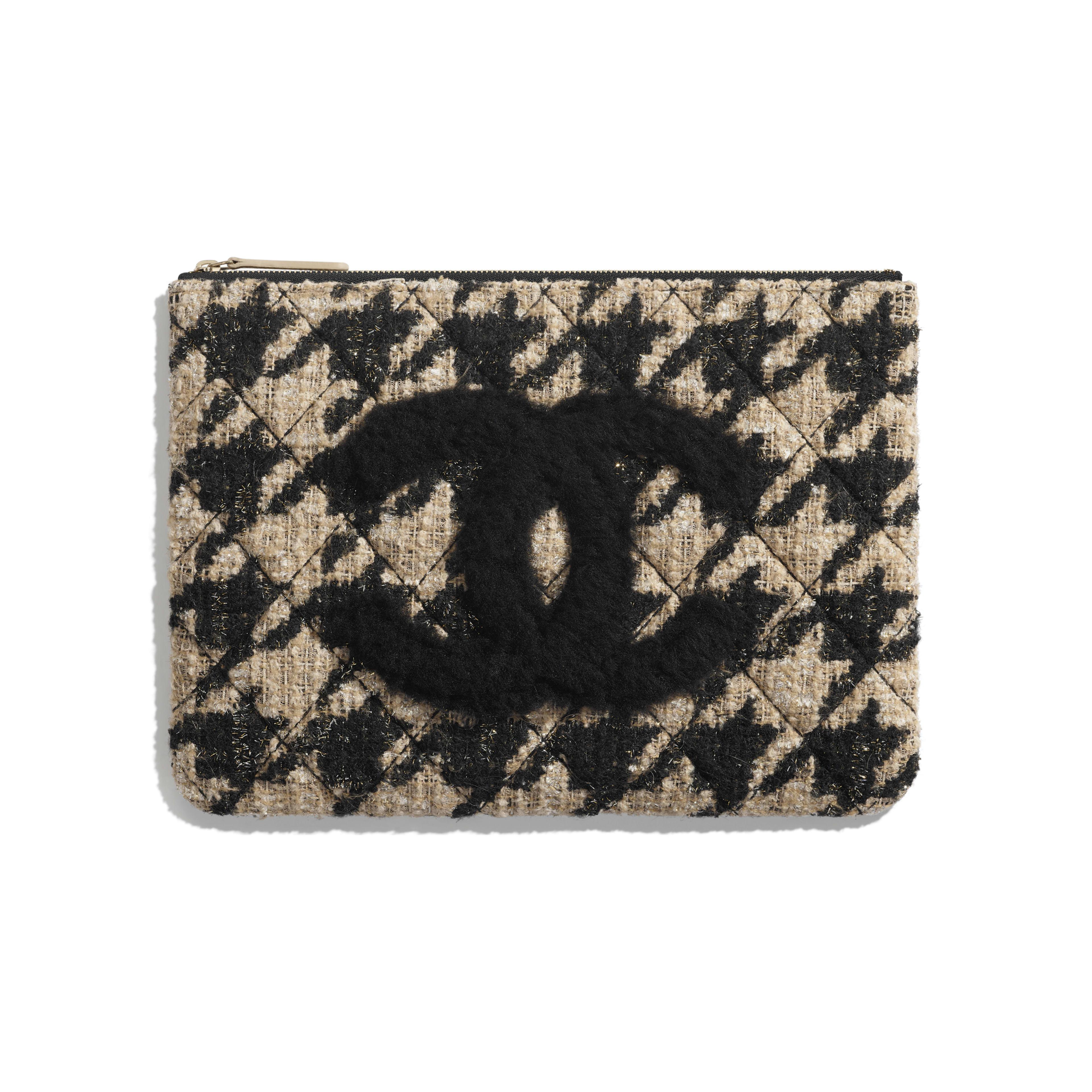 กระเป๋าเพาช์ - สีดำและสีเบจ - ผ้าทวีต หนังแกะเชียร์ลิ่ง และโลหะสีทอง - มุมมองปัจจุบัน - ดูเวอร์ชันขนาดเต็ม