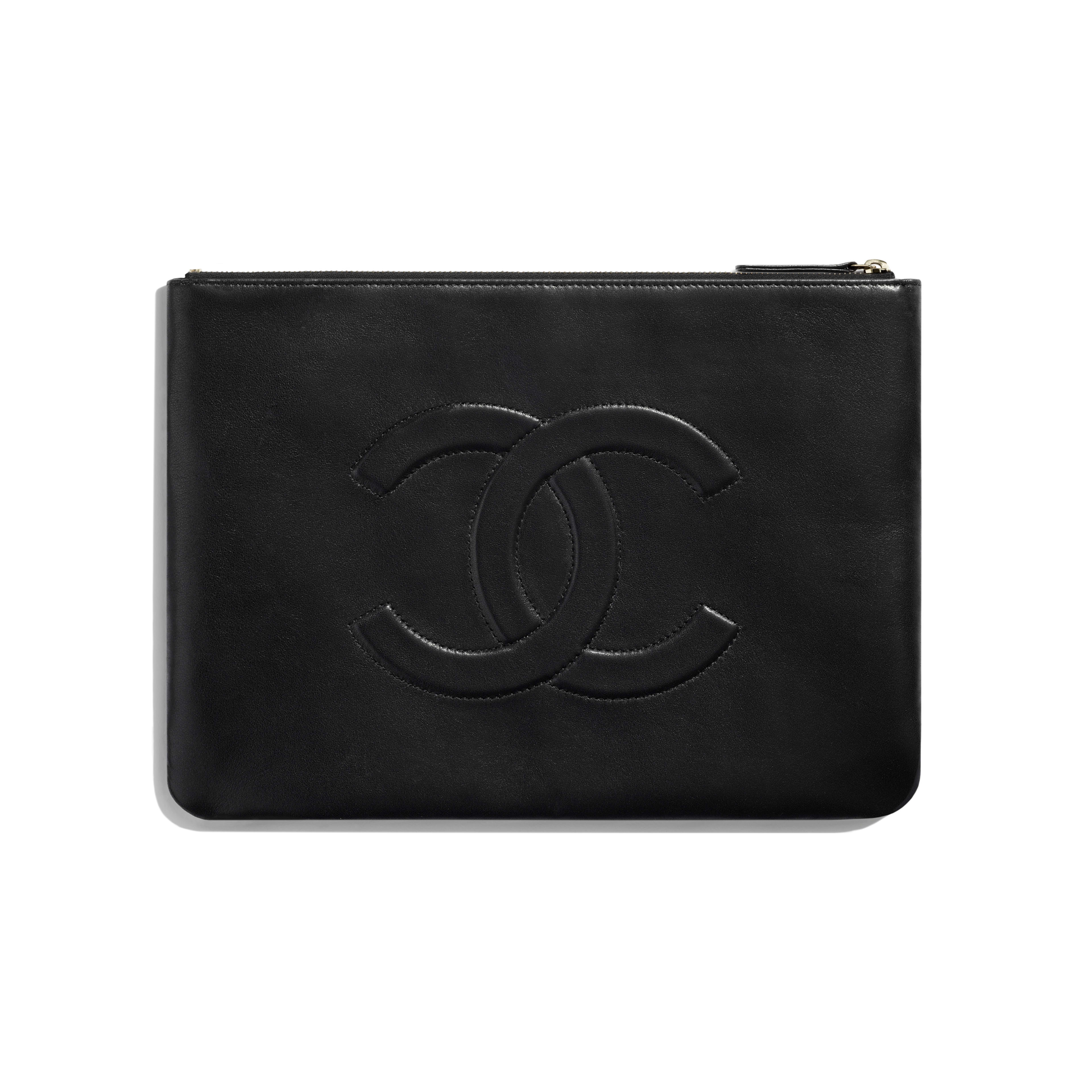 Pouch - Black - Lambskin & Gold-Tone Metal - Alternative view - see full sized version