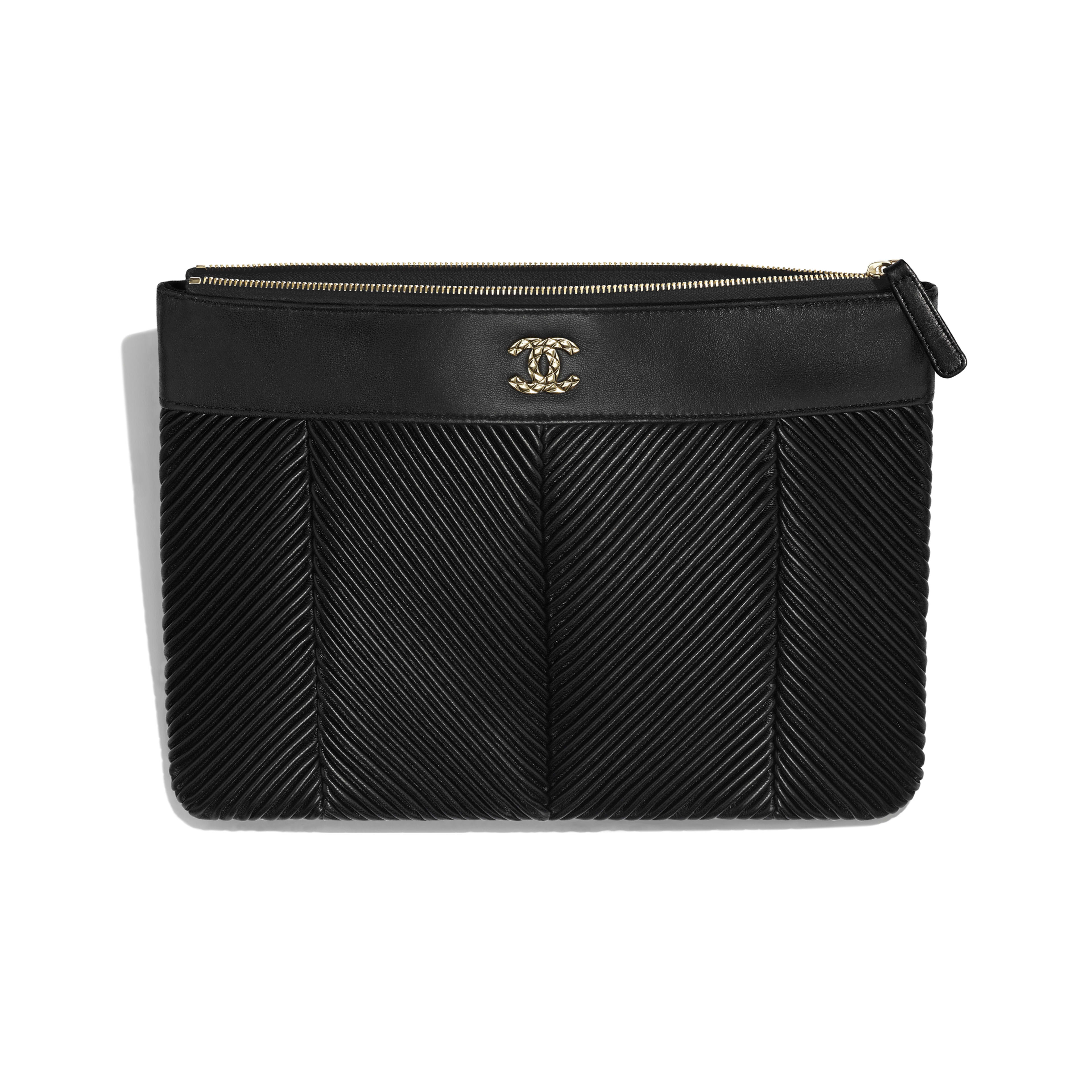 Pouch - Black - Lambskin & Gold-Tone Metal - Other view - see full sized version