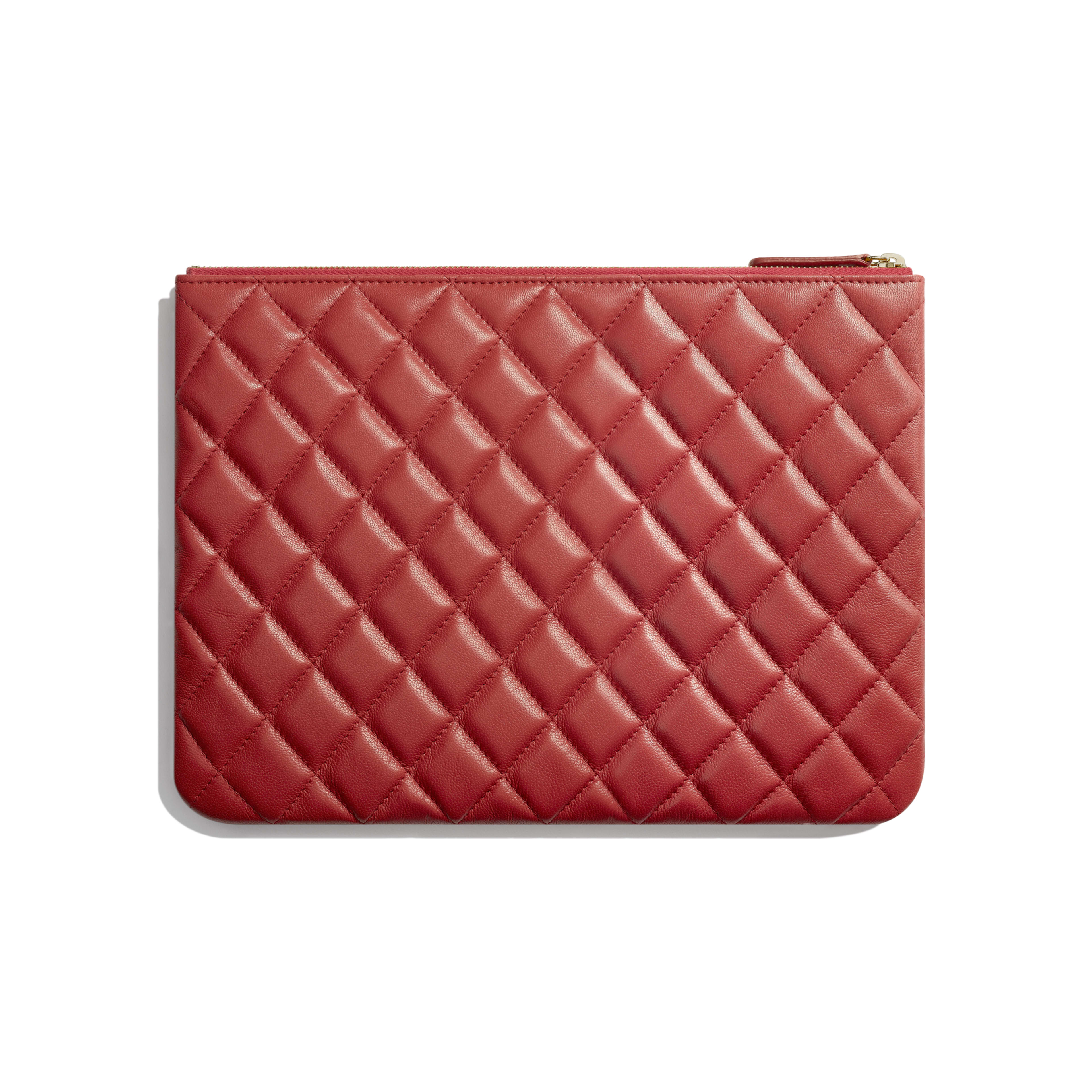 Pouch - Red - Lambskin & Gold-Tone Metal - Alternative view - see full sized version