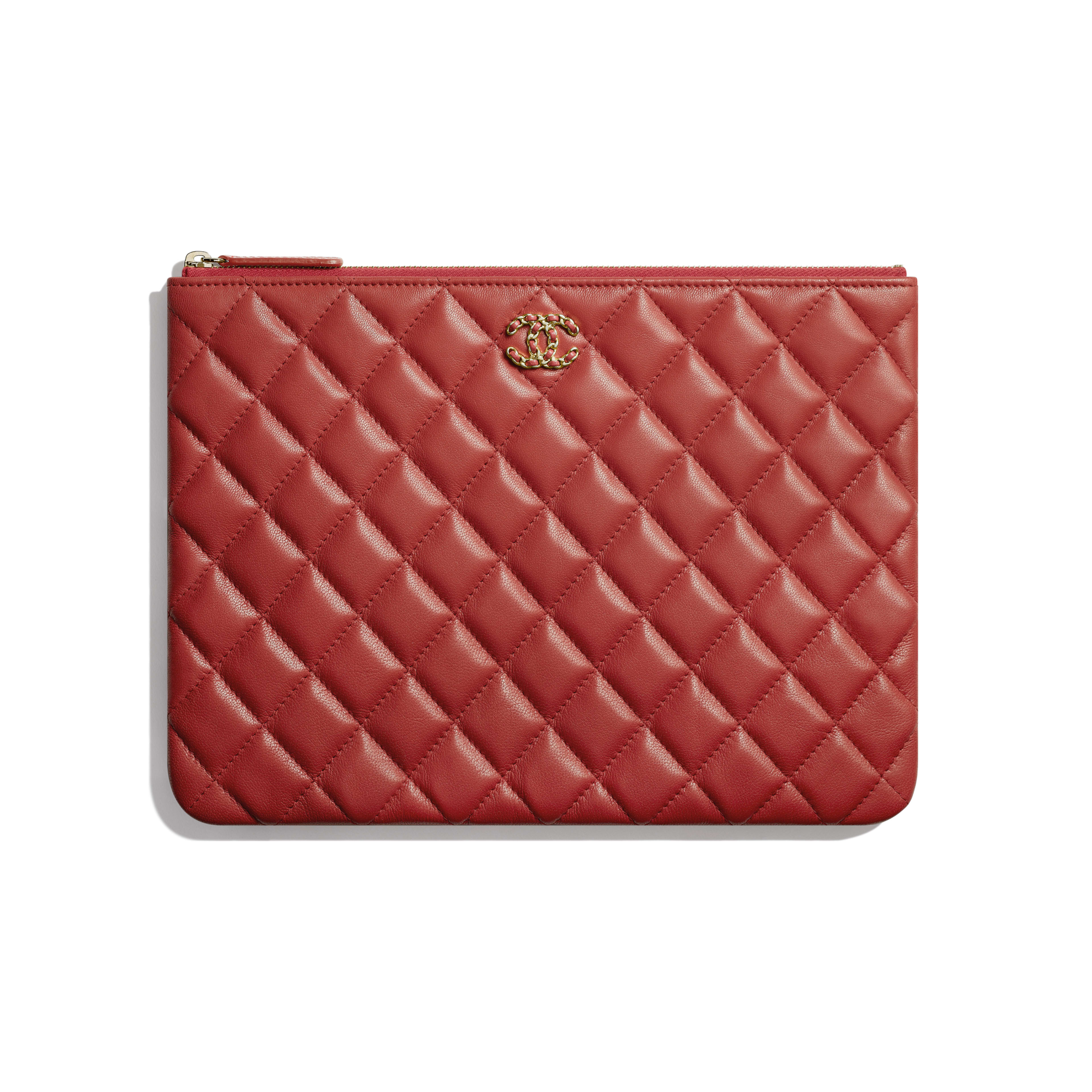 Pouch - Red - Lambskin & Gold-Tone Metal - Default view - see full sized version