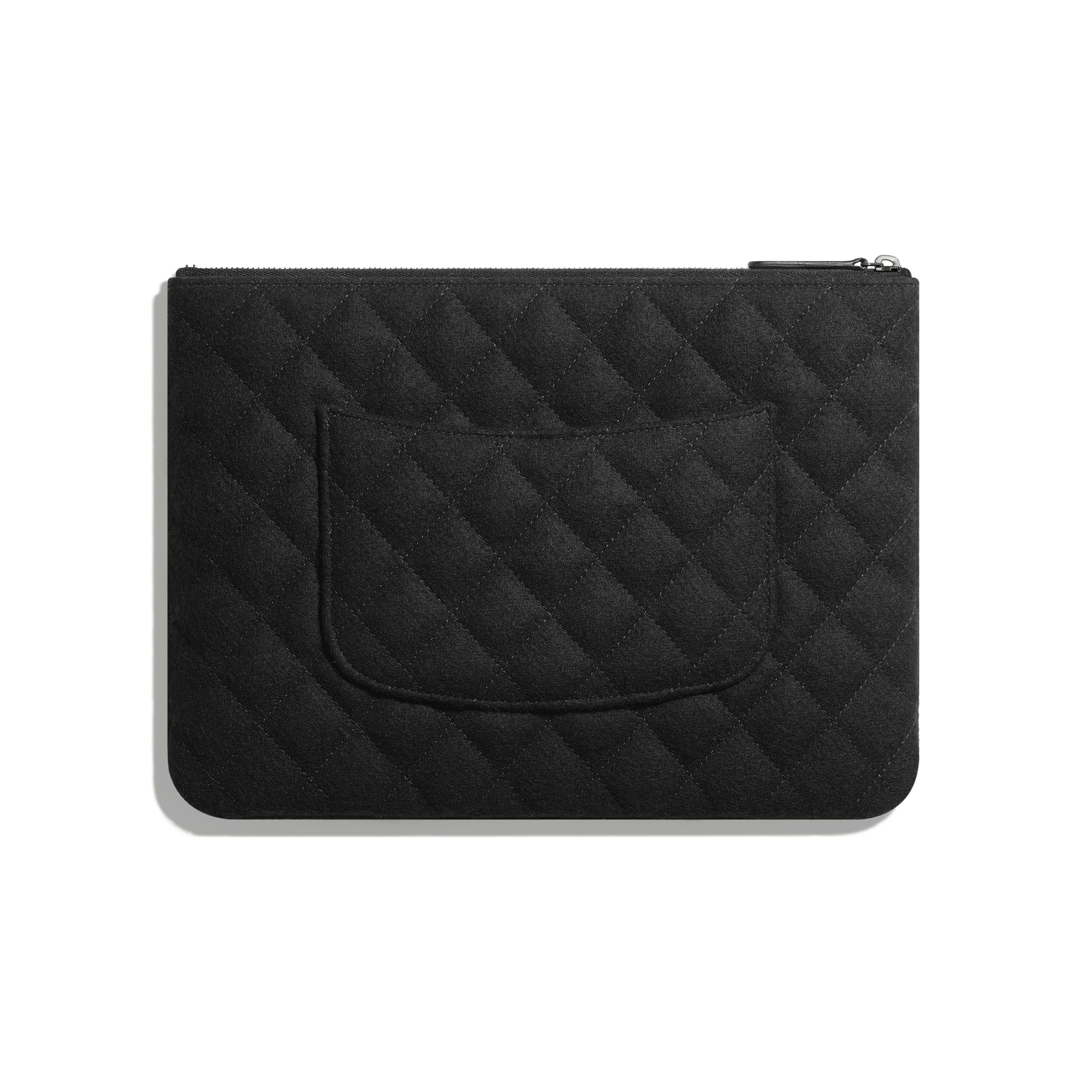 กระเป๋าเพาช์ - สีเงินและสีดำ - เลื่อม ใยขนแกะ และโลหะเคลือบรูทีเนียม - มุมมองทางอื่น - ดูเวอร์ชันขนาดเต็ม