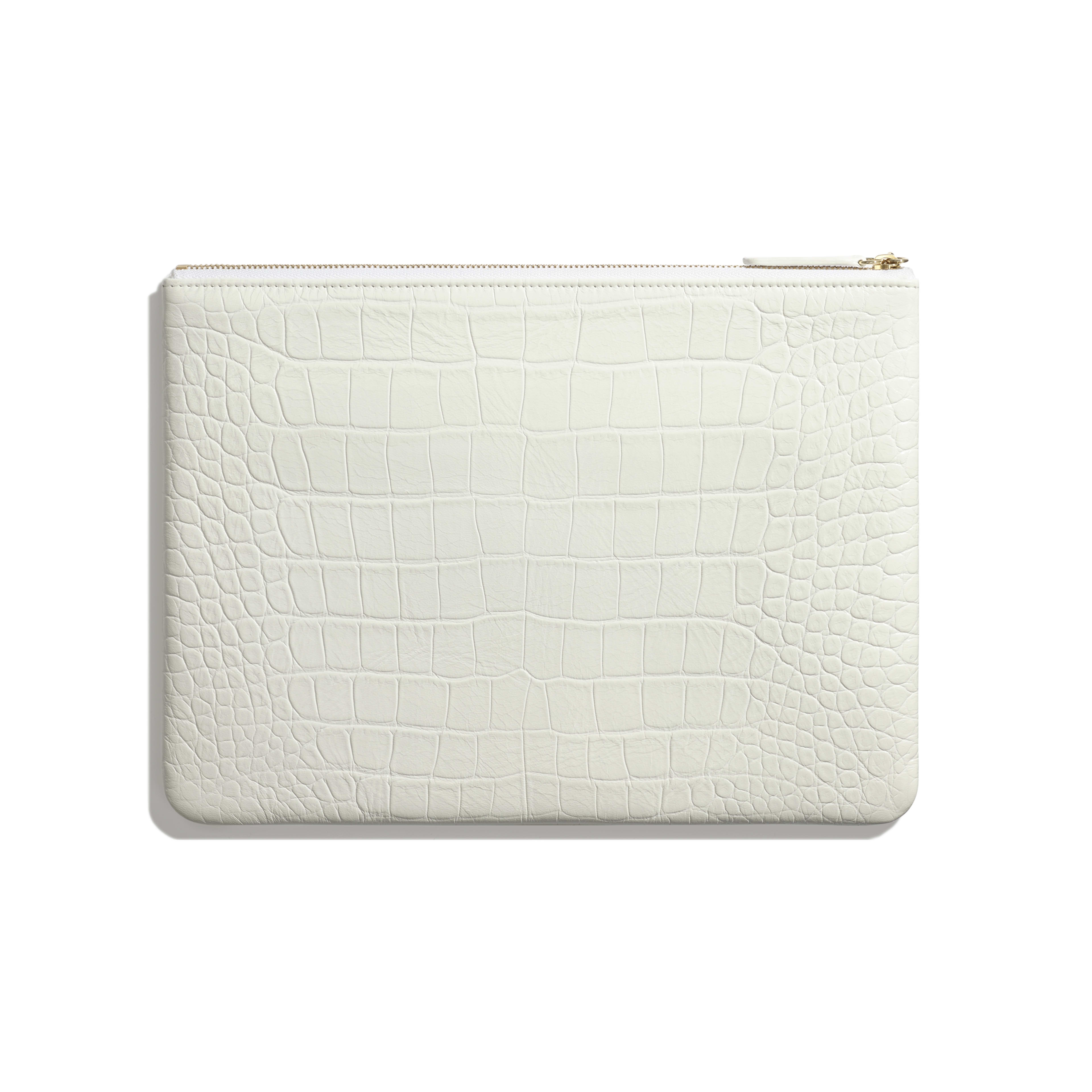 Pouch - White & Gold - Crocodile Embossed Calfskin & Gold-Tone Metal - Alternative view - see full sized version