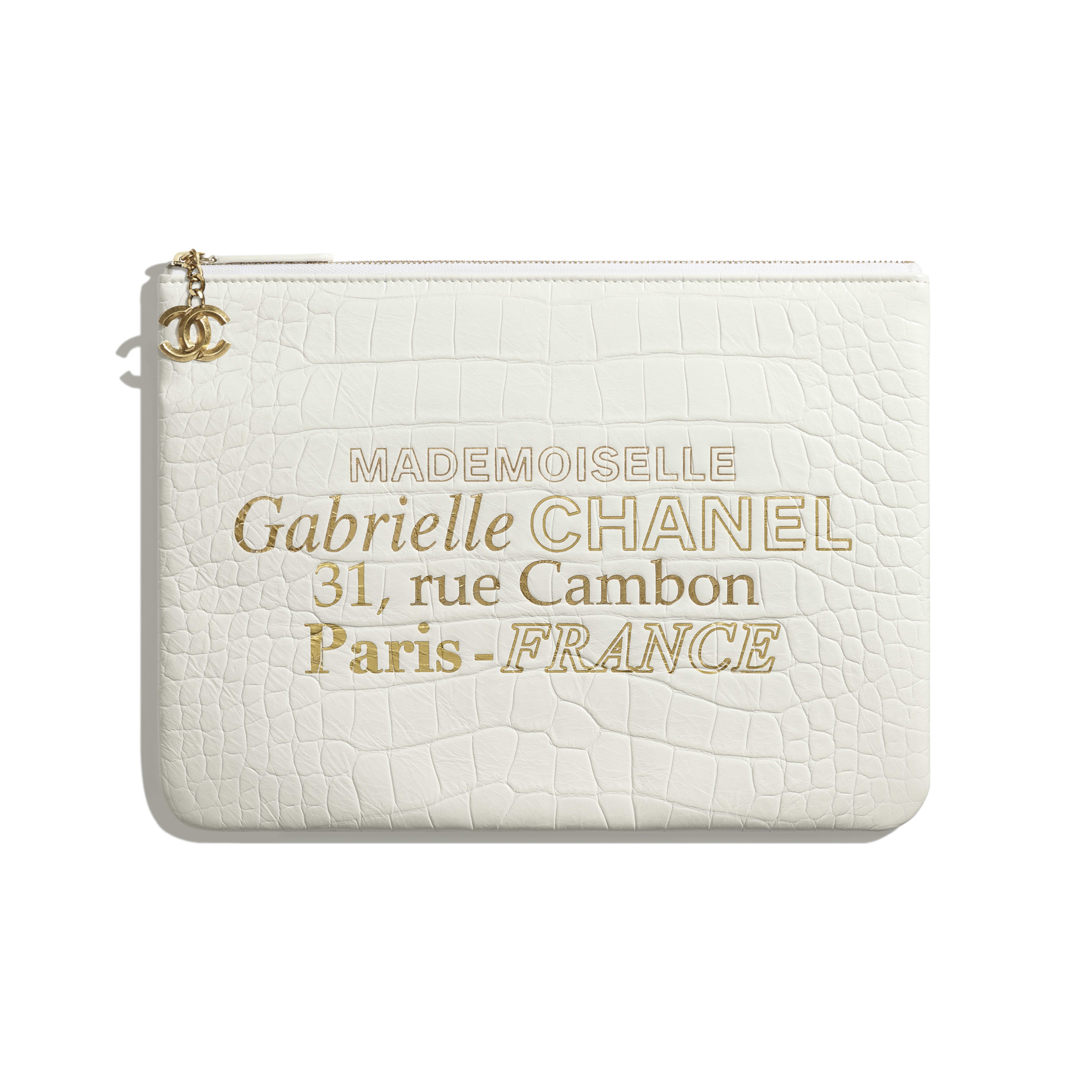 Pouch - White & Gold - Crocodile Embossed Calfskin & Gold-Tone Metal - Default view - see full sized version